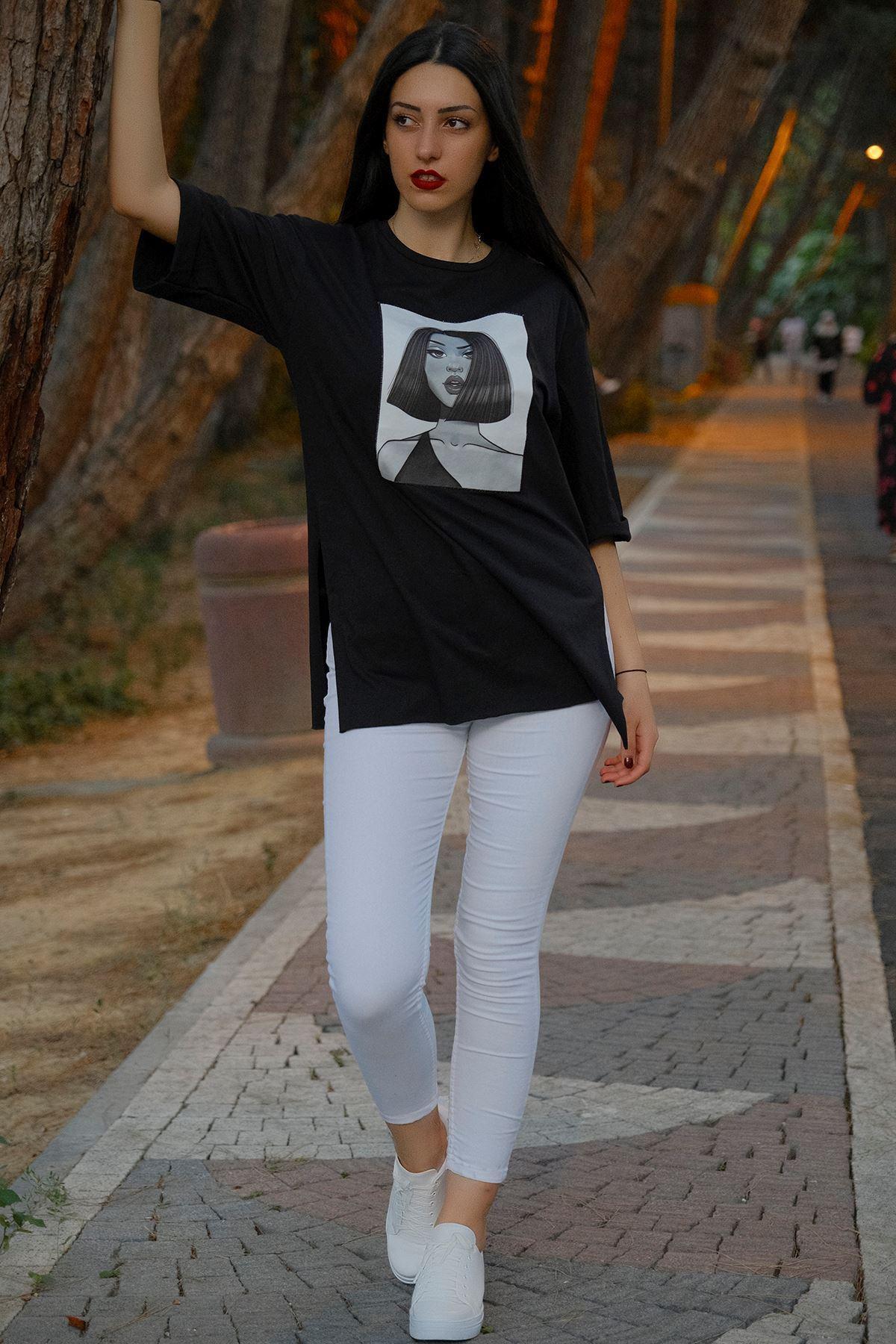 Kız Baskılı Tunik Siyah - 8016.994.
