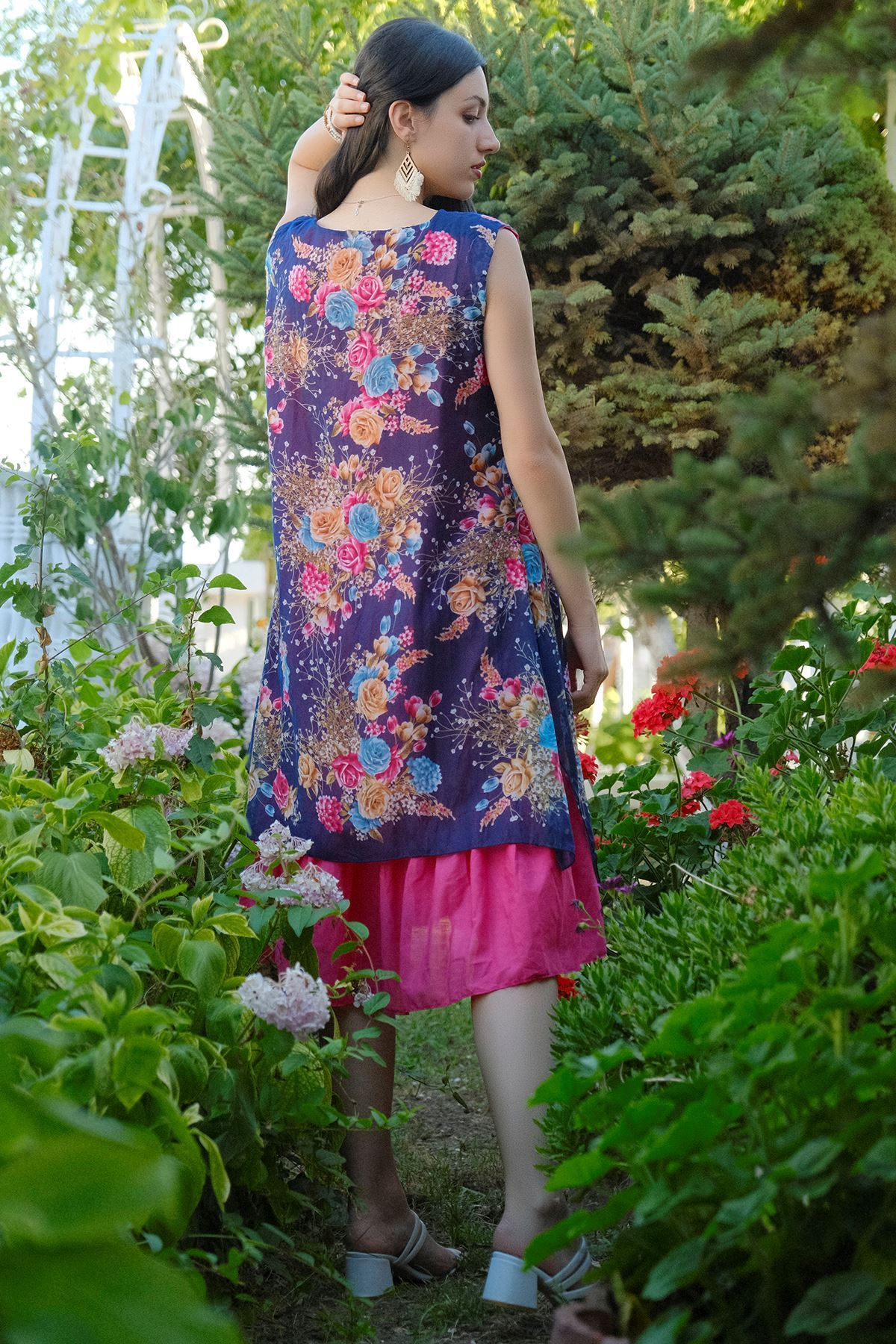 Kolsuz Tülbent Elbise Fuşyamor - 8001.323.