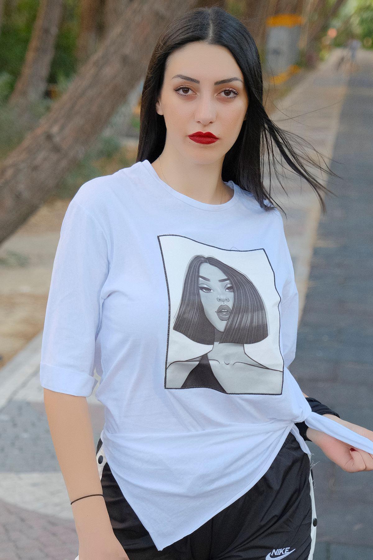 Kız Baskılı Tunik Beyaz - 8016.994.