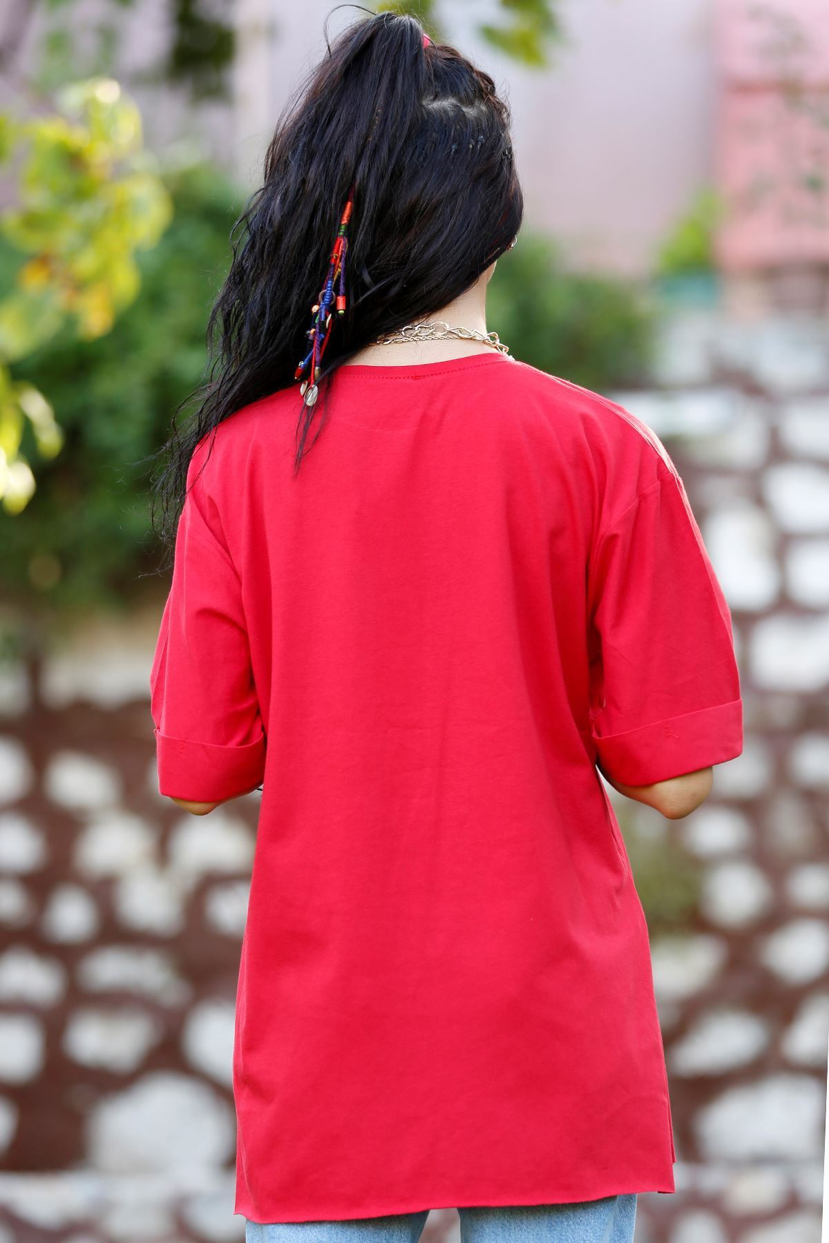 Avokado Baskılı Tişört Kırmızı - 2580.927.