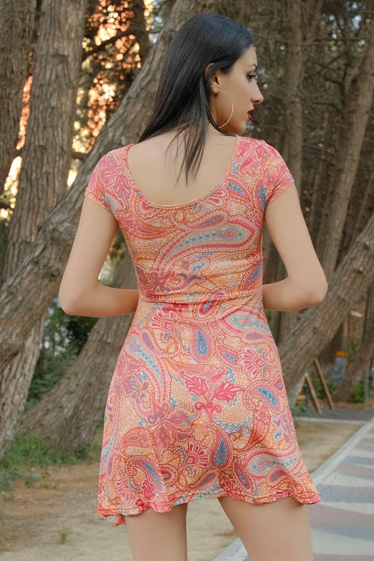 Kayık Yaka Kloş Elbise Şaldesenli - 0281.316.
