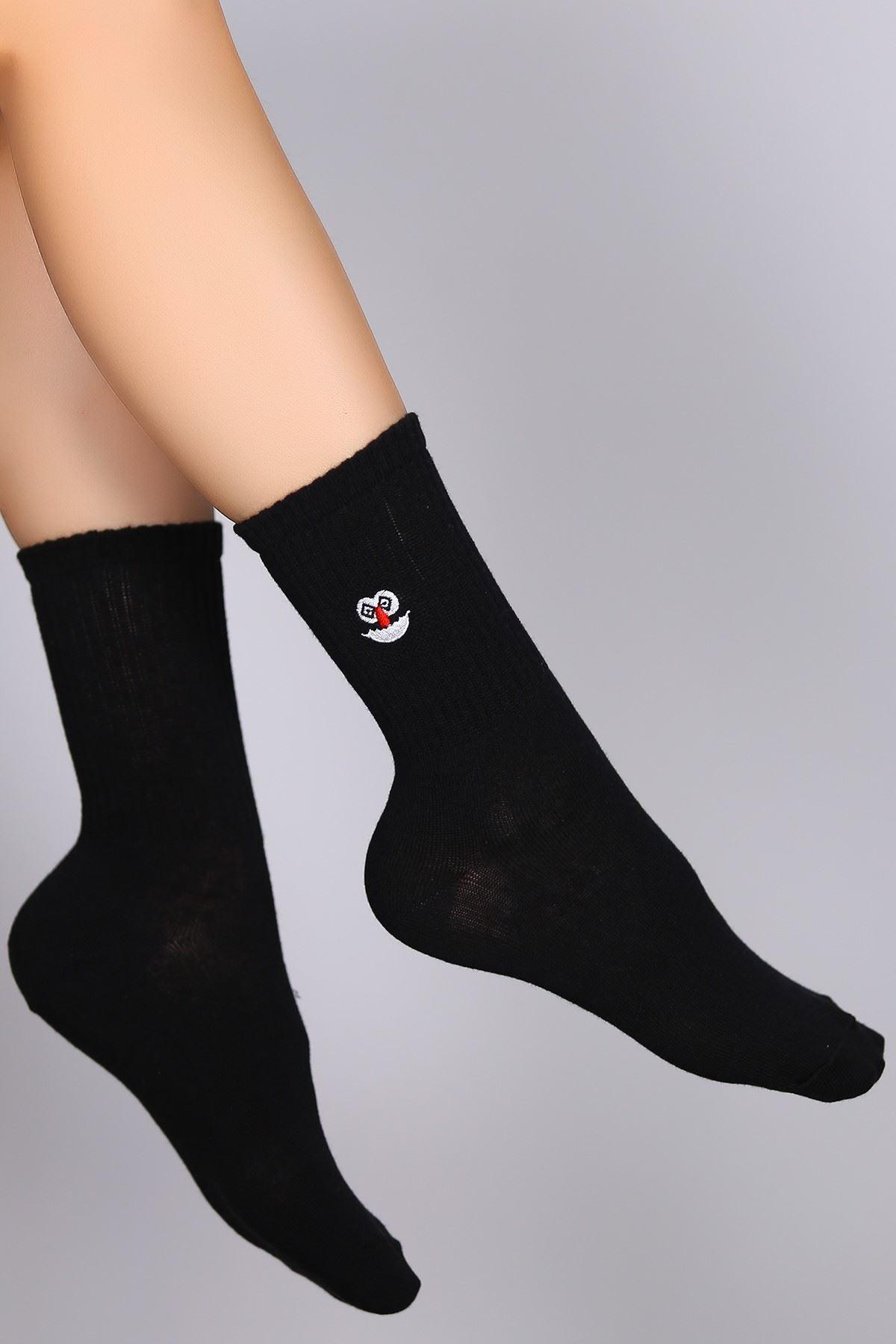 Nakışlı Soket Çorap Siyah - 10770.1114.