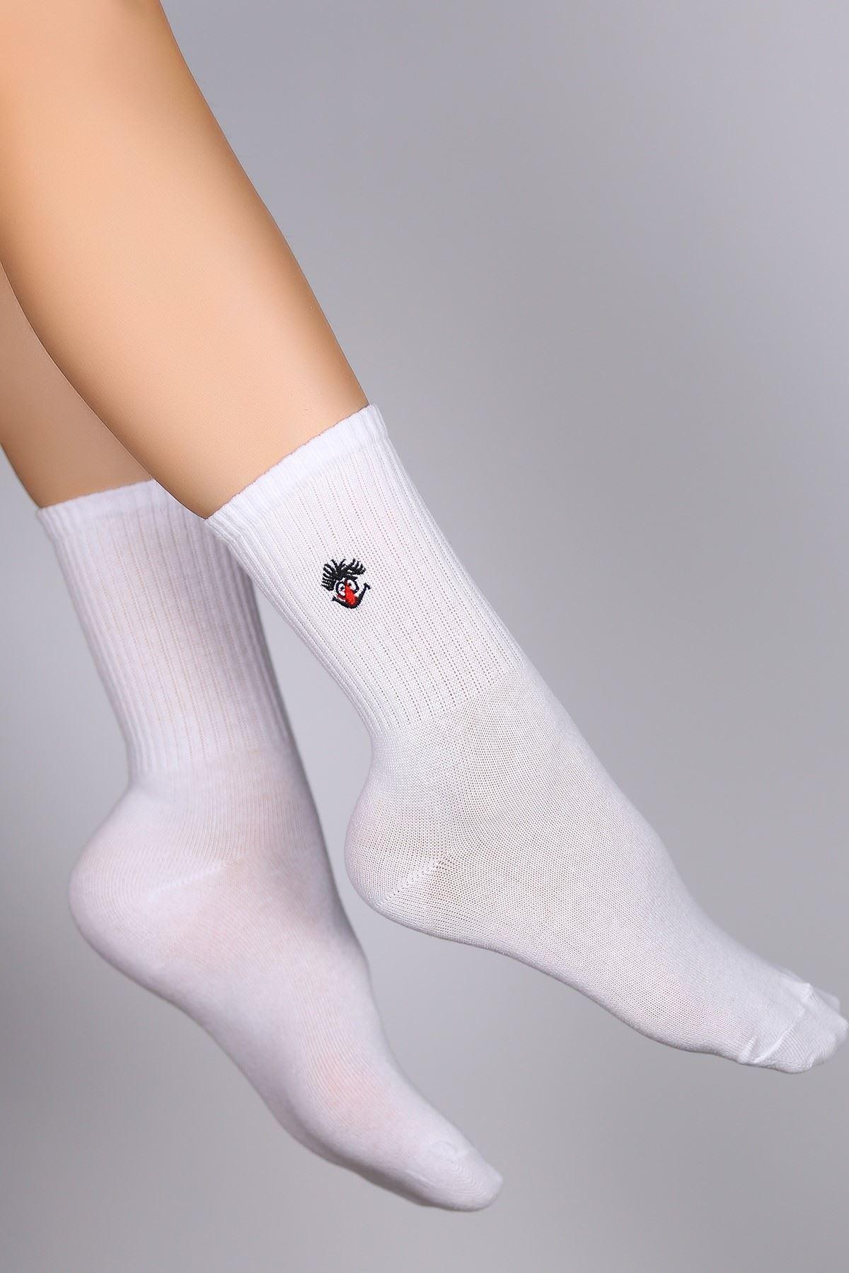 Nakışlı Soket Çorap Beyaz - 10770.1114.