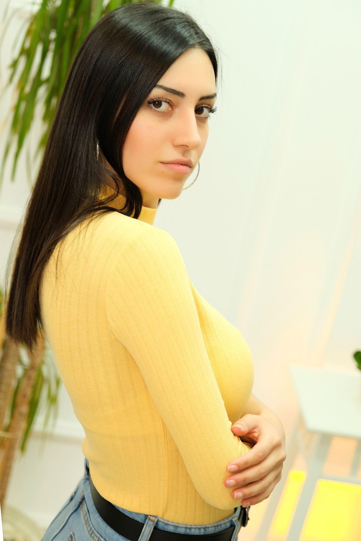 Fitilli Crop Bluz Sarı - 8102.1232.