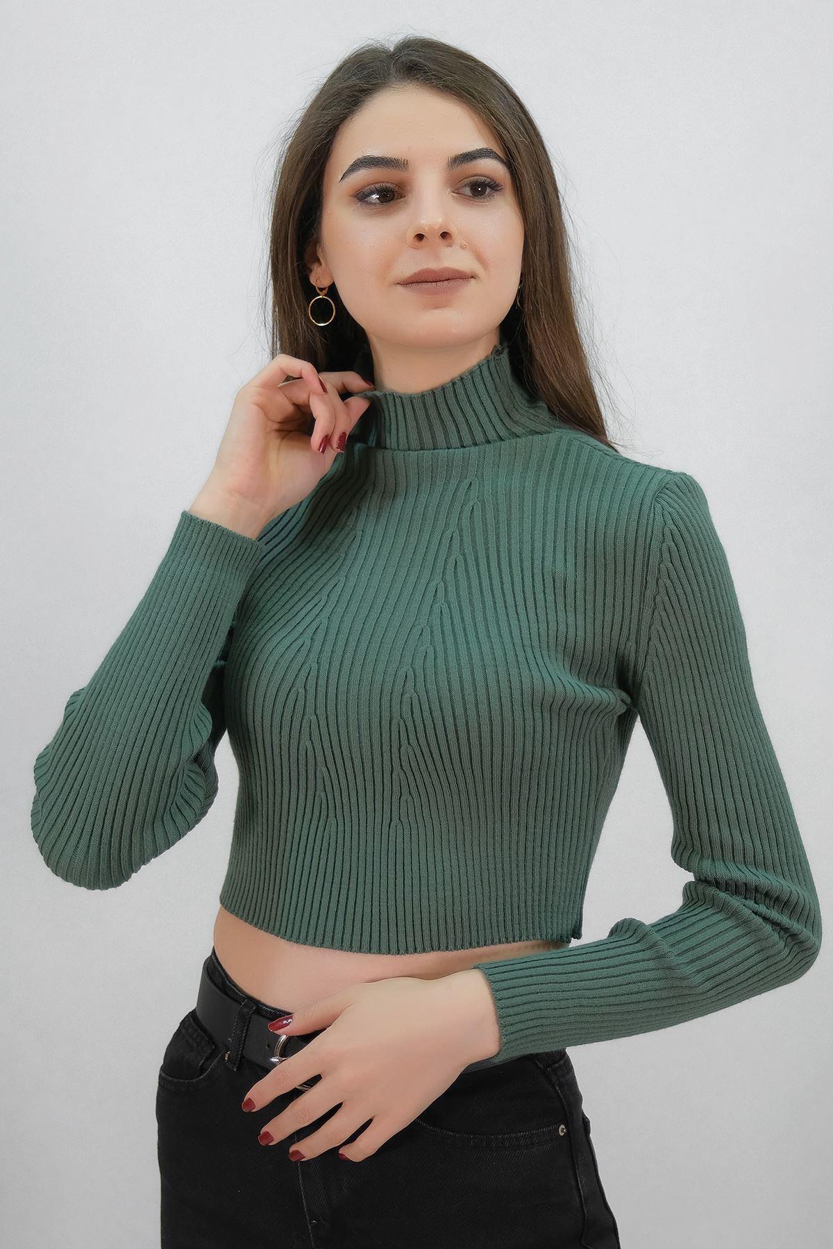 Dikişsiz Yarım Boğazlı Triko Yeşil - 1219.483.