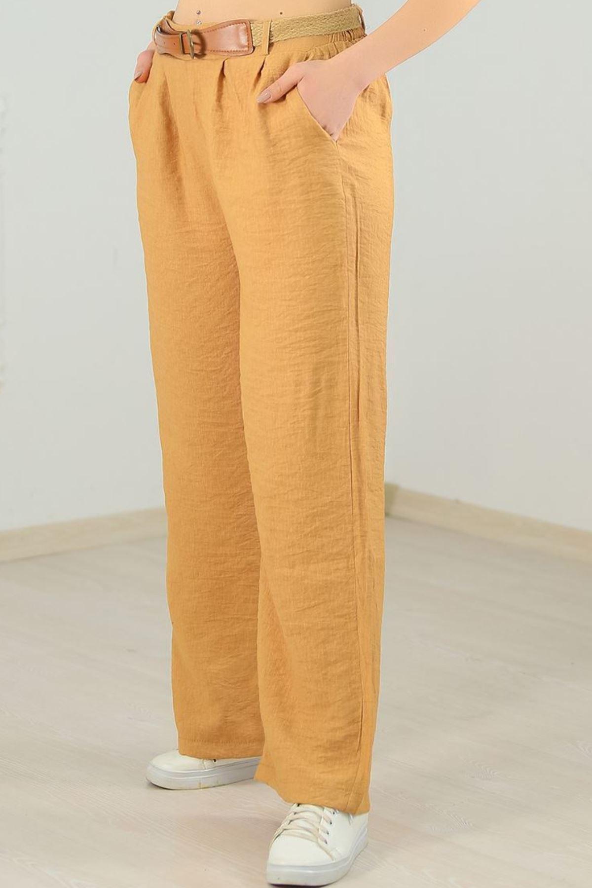 Hasır Kemerli Pileli Pantolon Camel - 3074.222.