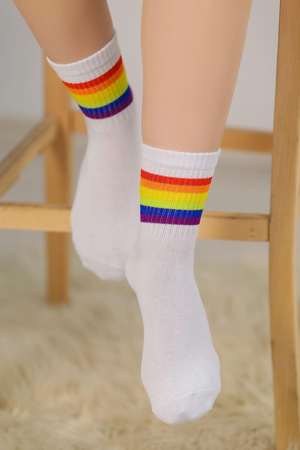 Soket Çorap Renklibeyaz - 10101.1114.