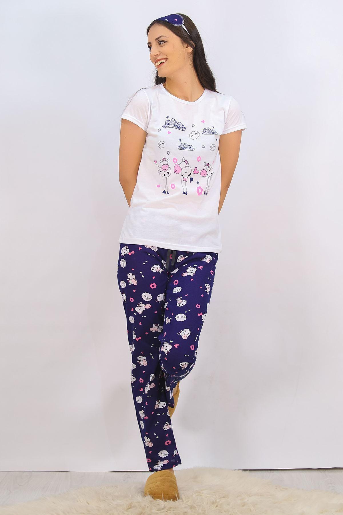 Baskılı Pijama Takımı Beyaz - 4698.102.