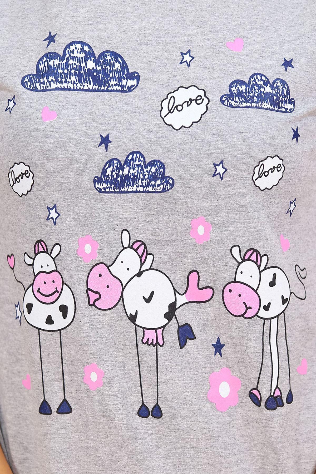 Baskılı Pijama Takımı Gri - 4698.102.