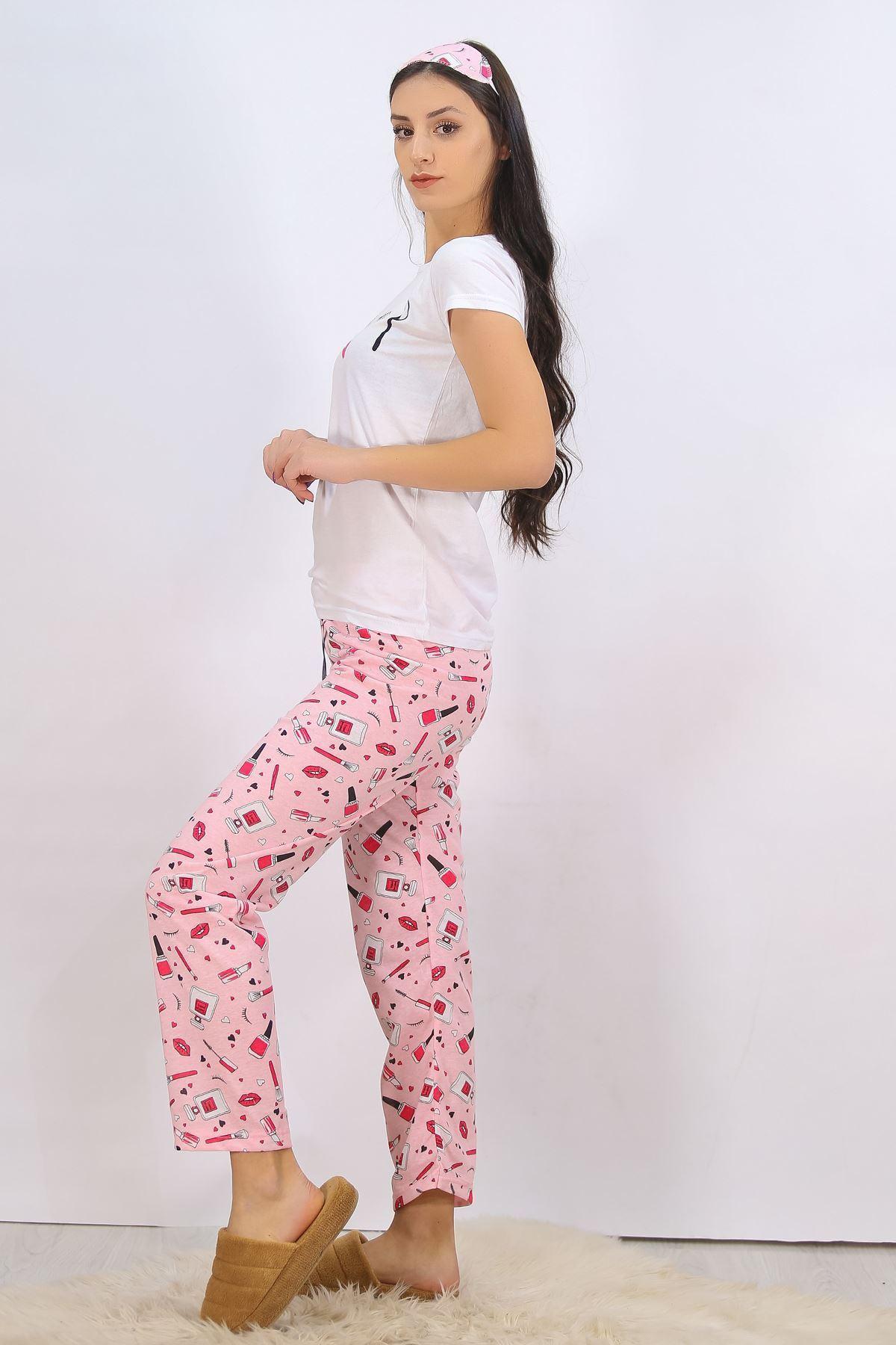 Baskılı Pijama Takımı Beyaz - 4707.102.