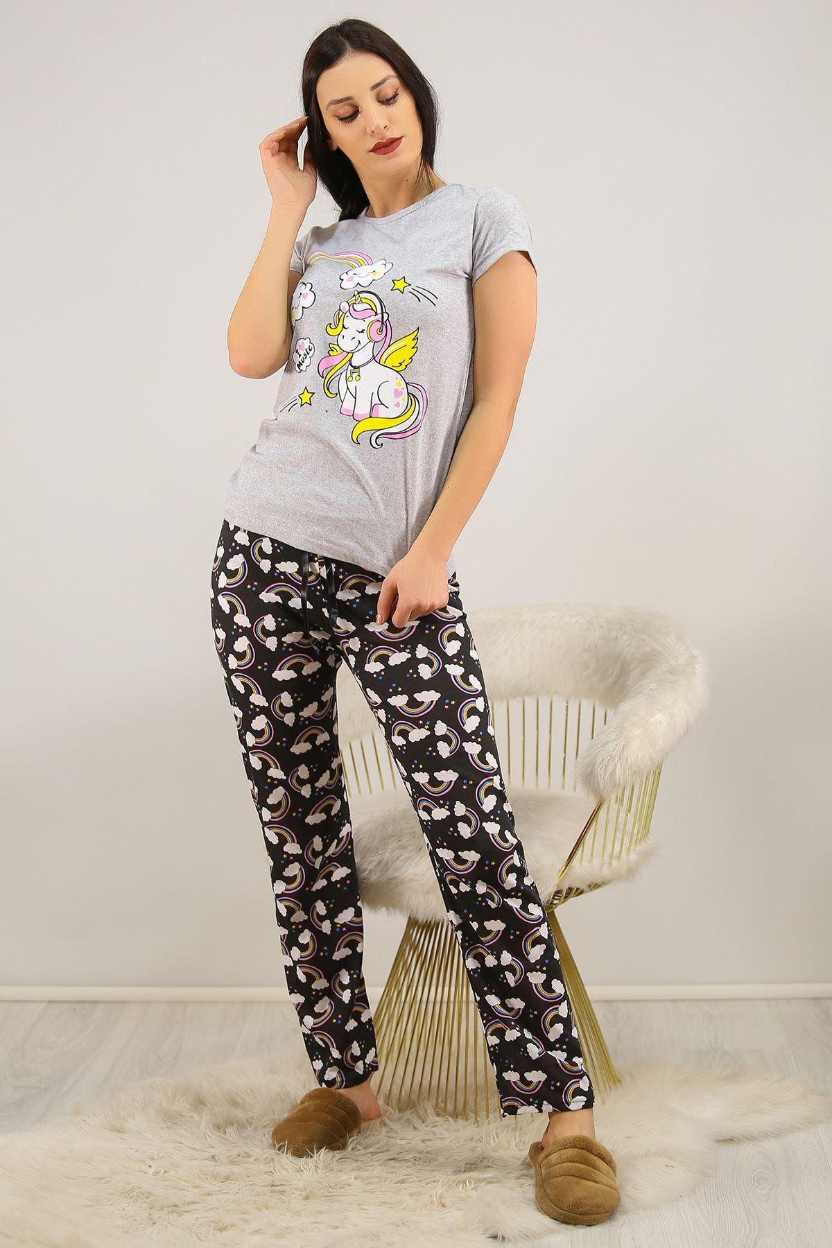 Baskılı Pijama Takımı Gri - 4704.102.