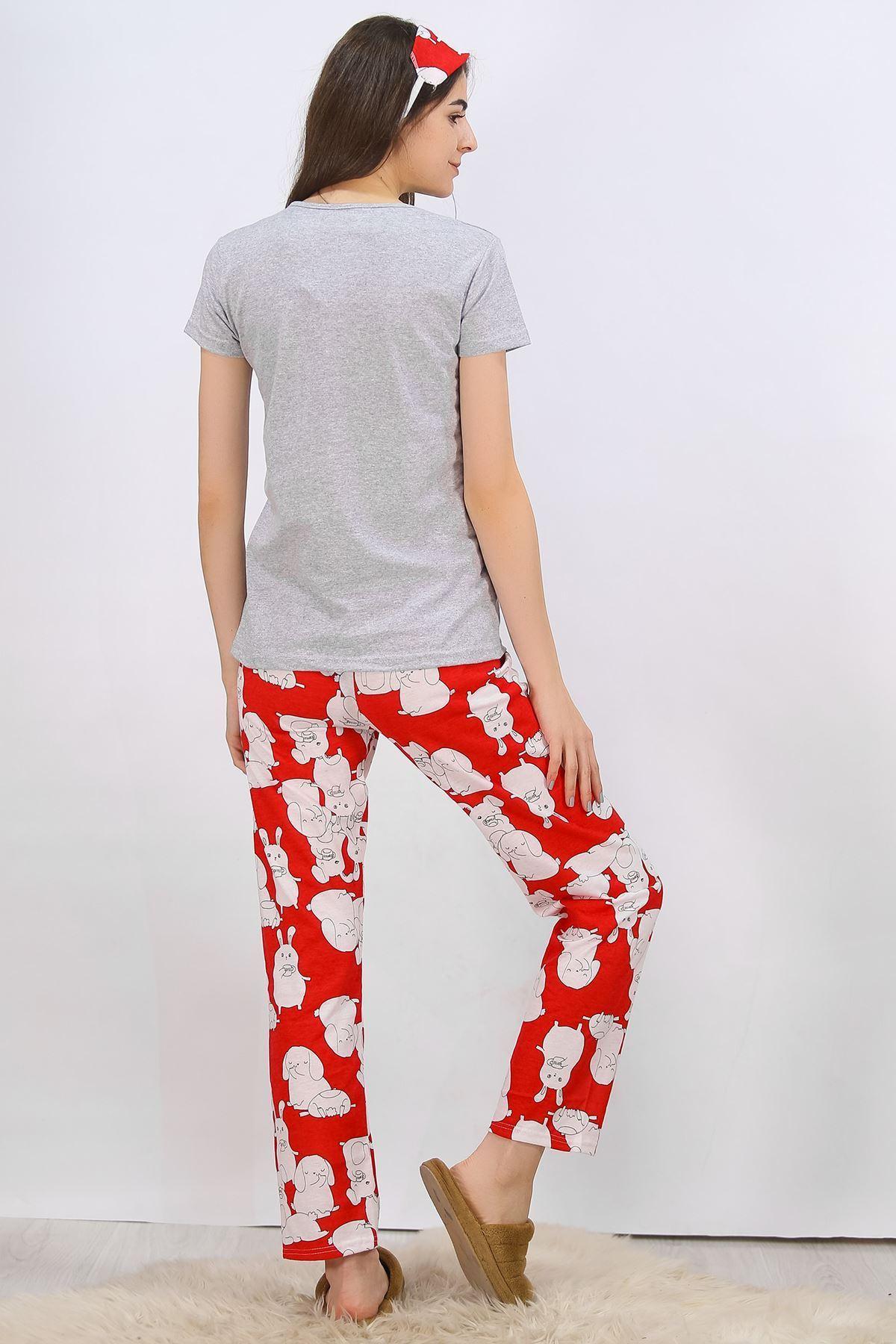 Baskılı Pijama Takımı Gri - 4699.102.