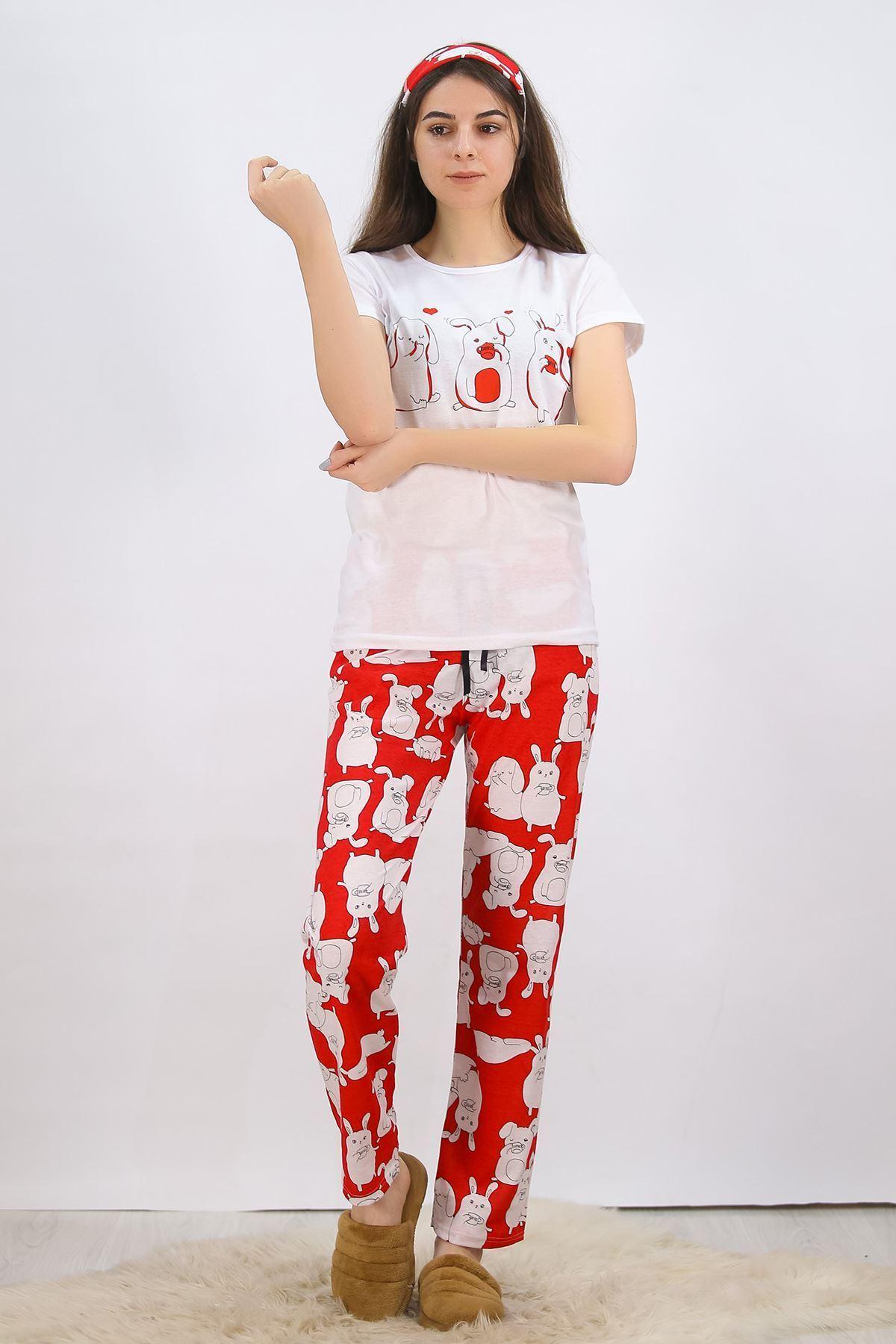 Baskılı Pijama Takımı Beyaz - 4699.102.