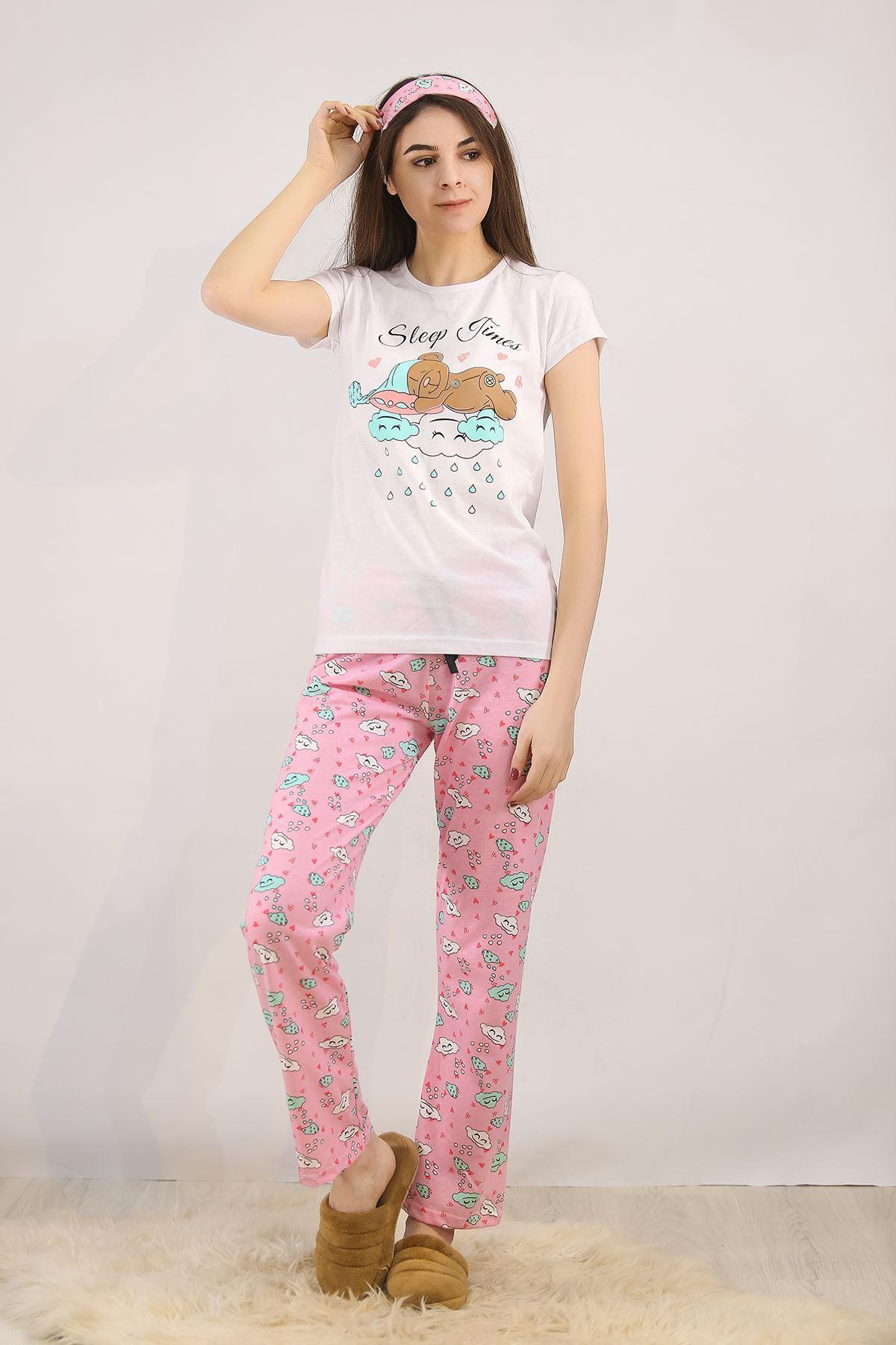 Baskılı Pijama Takımı Beyaz - 4713.102.