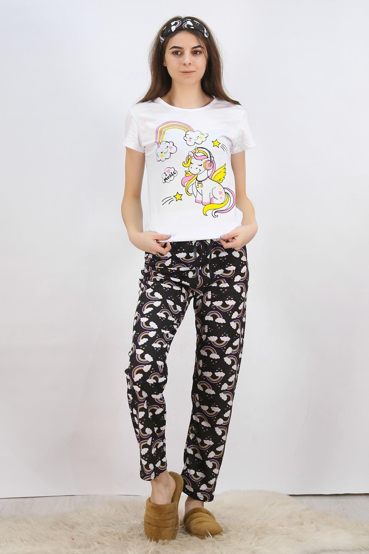 Baskılı Pijama Takımı Beyaz - 4704.102.