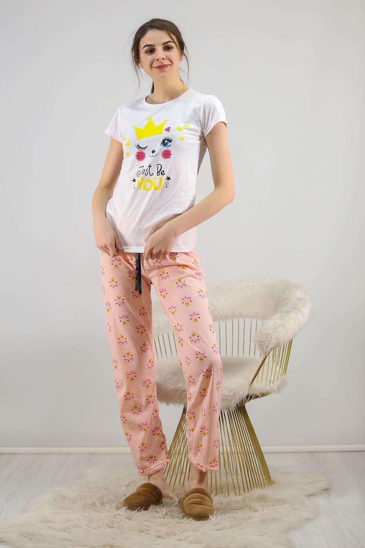 Baskılı Pijama Takımı Beyaz - 4708.102.