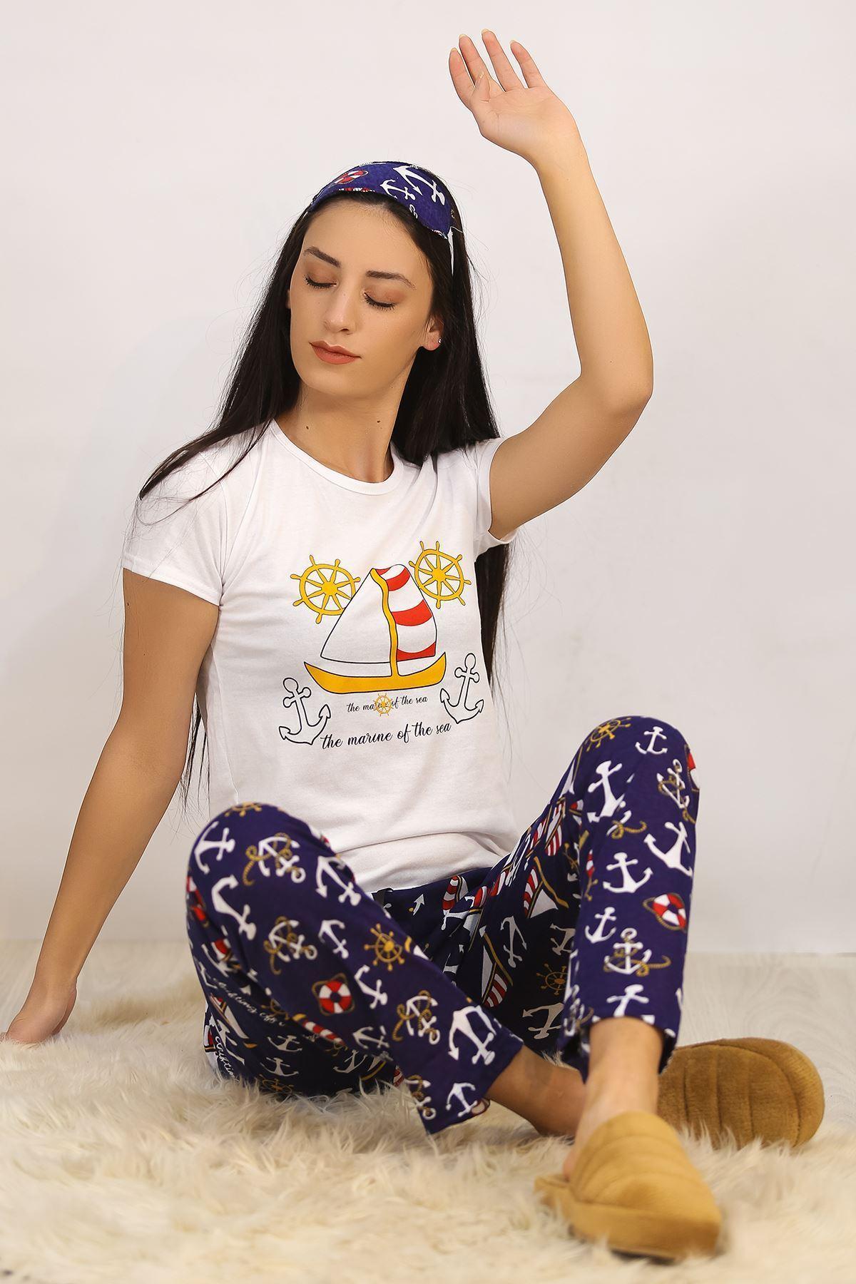Baskılı Pijama Takımı Beyaz - 4705.102.