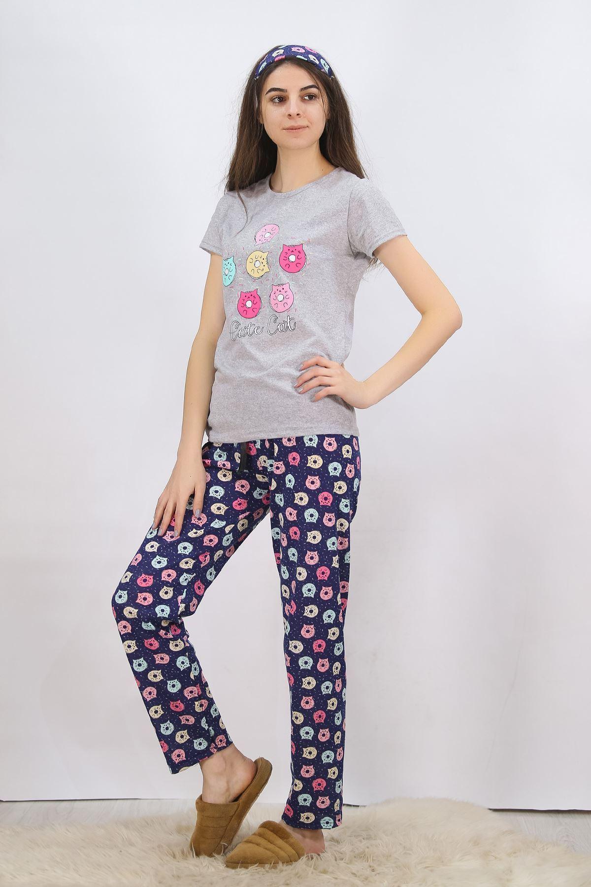 Baskılı Pijama Takımı Gri - 4701.102.
