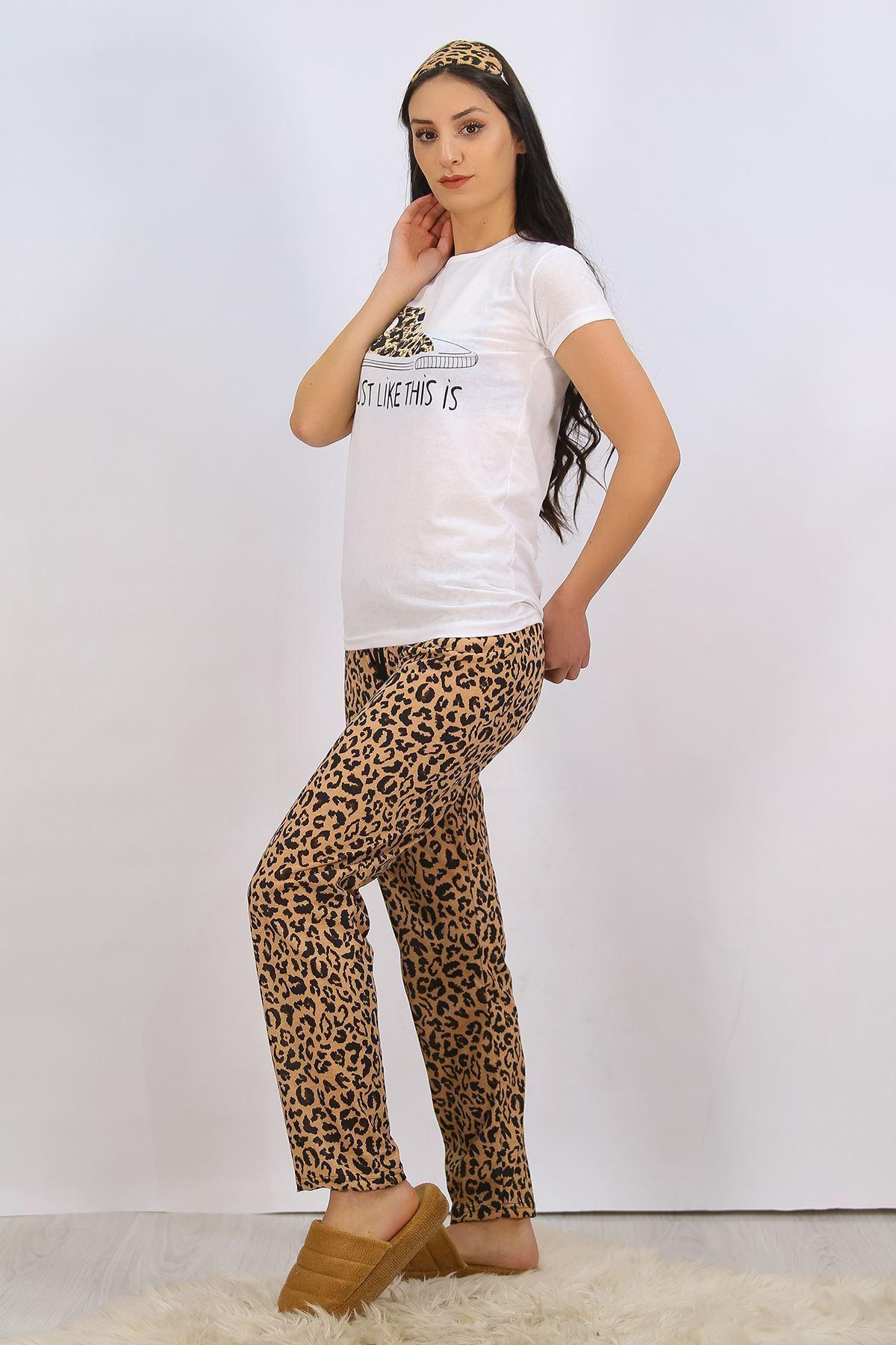 Baskılı Pijama Takımı Beyaz - 4710.102.