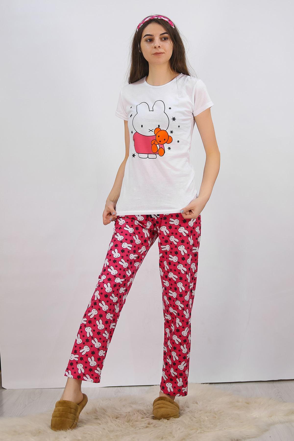 Baskılı Pijama Takımı Beyaz - 4711.102.