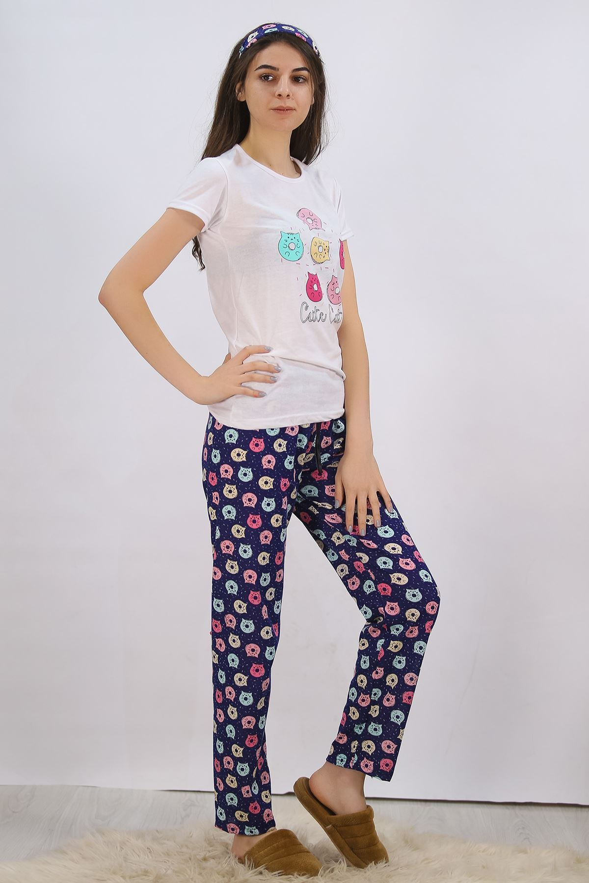 Baskılı Pijama Takımı Beyaz - 4701.102.