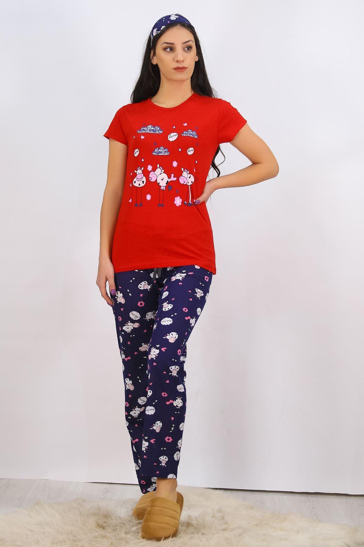 Baskılı Pijama Takımı Kırmızı - 4698.102.