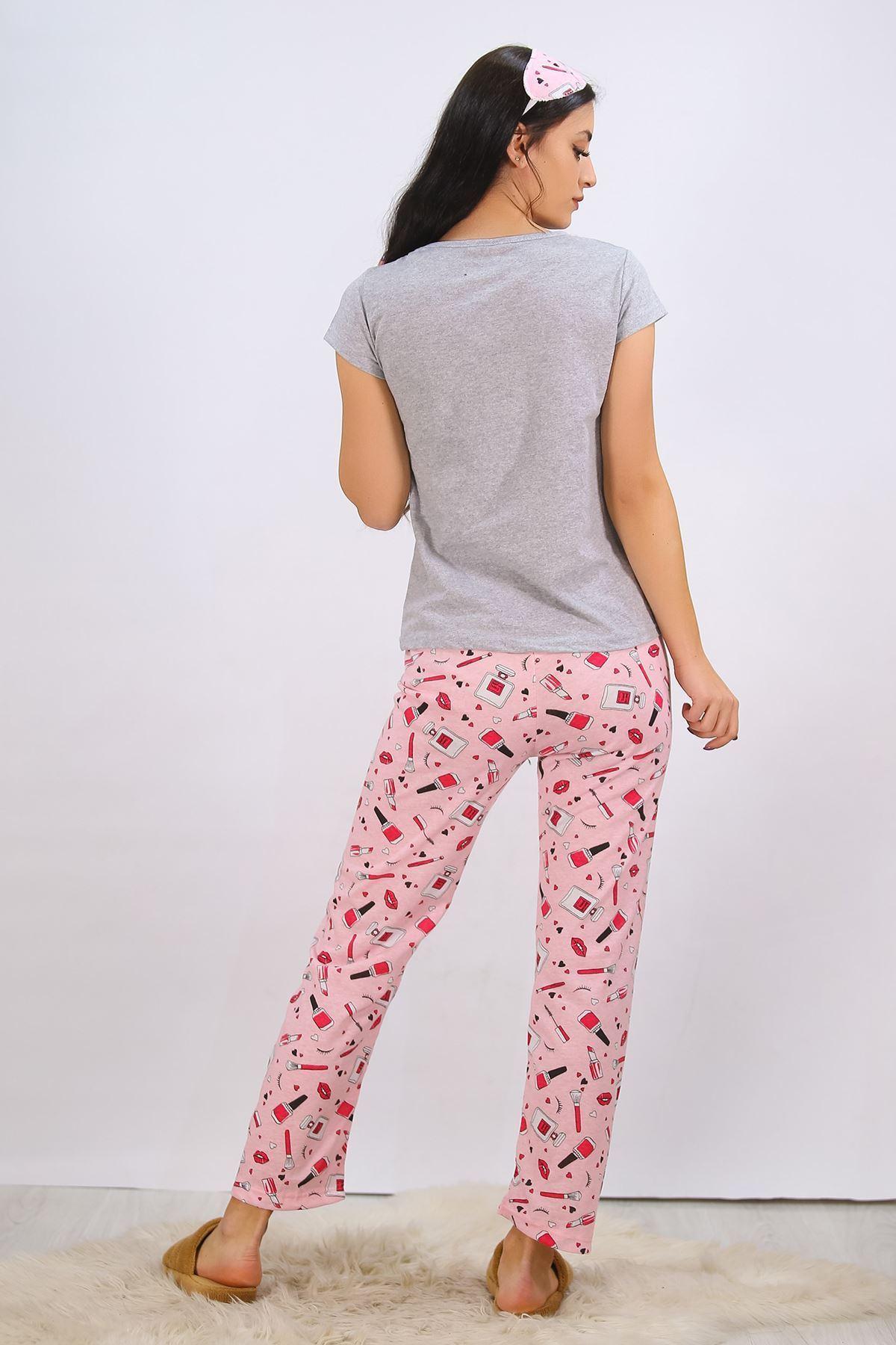 Baskılı Pijama Takımı Gri - 4707.102.