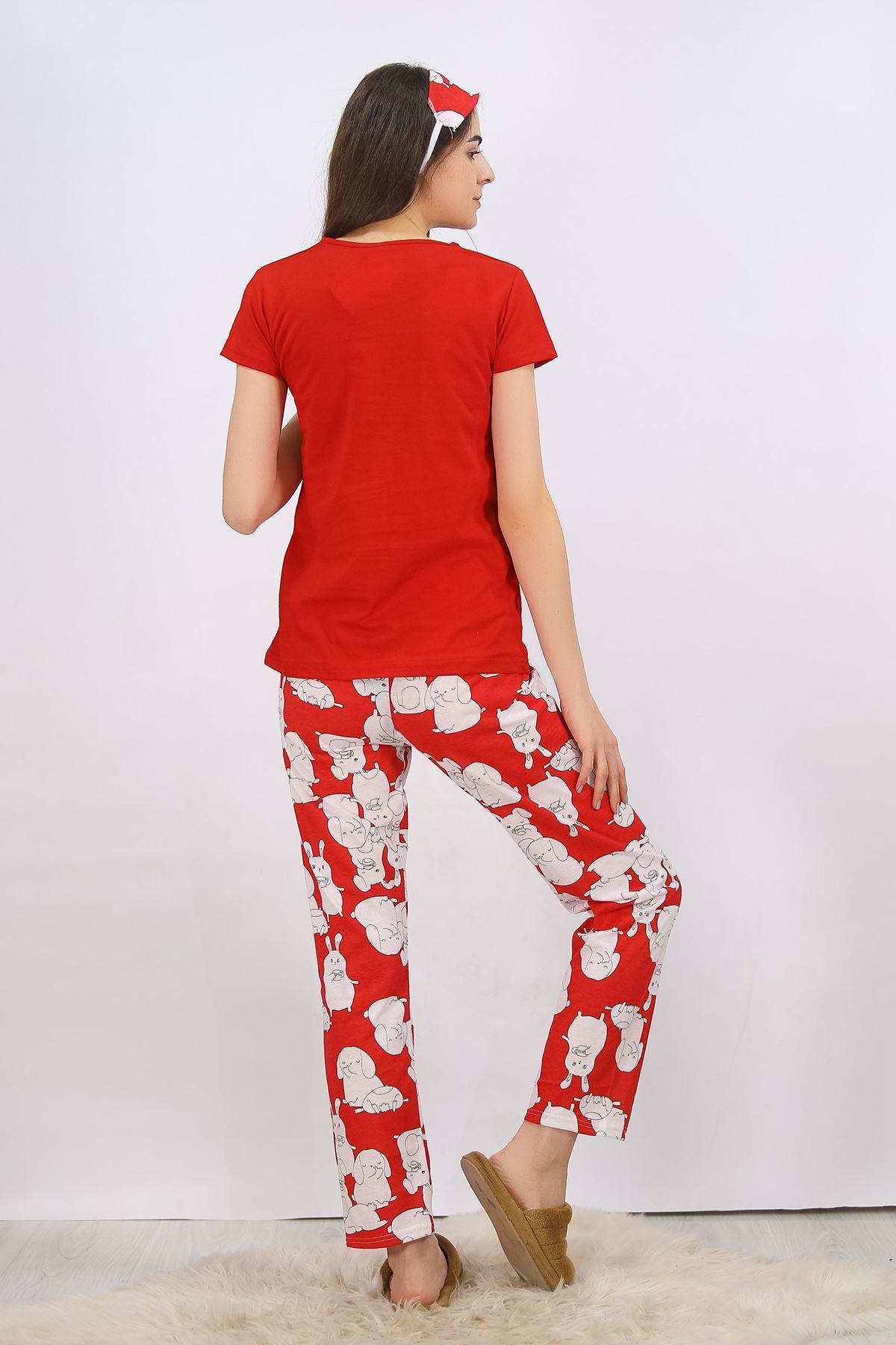 Baskılı Pijama Takımı Kırmızı - 4699.102.