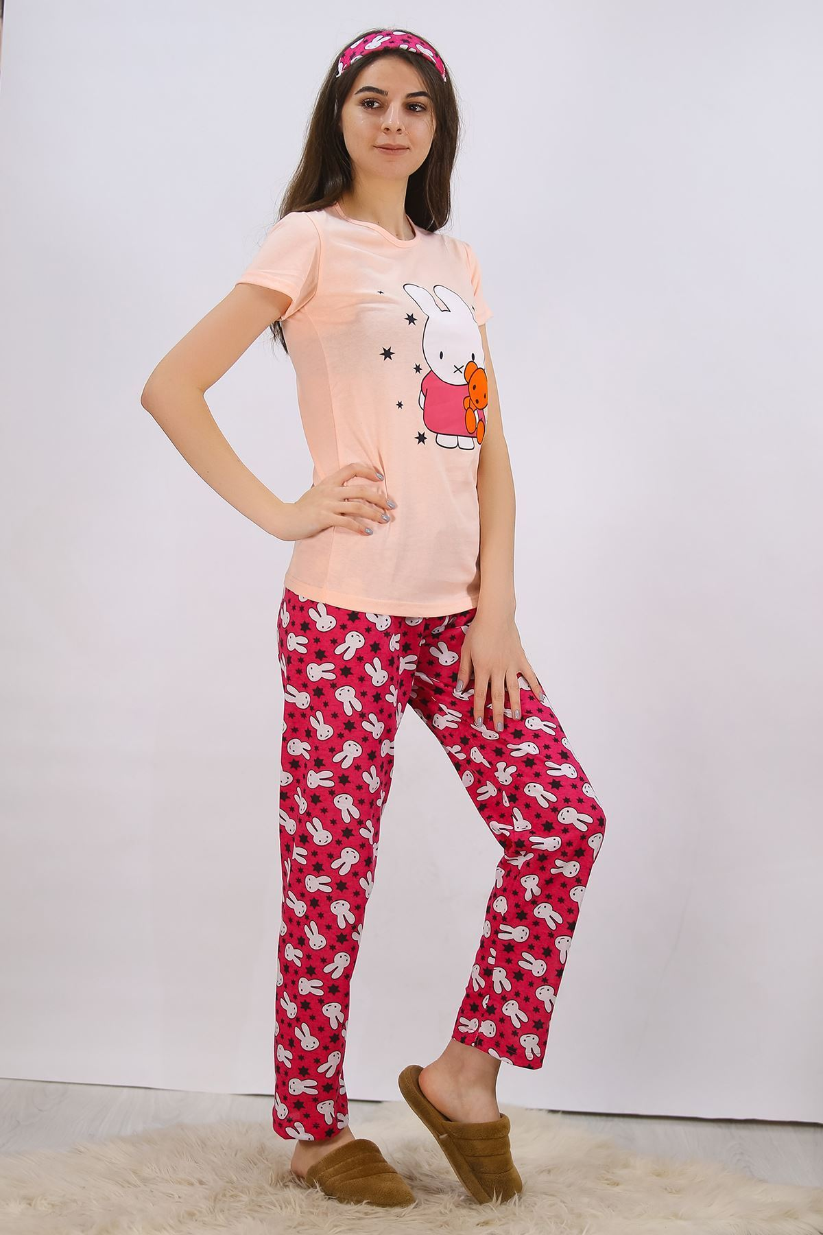Baskılı Pijama Takımı Somon - 4711.102.