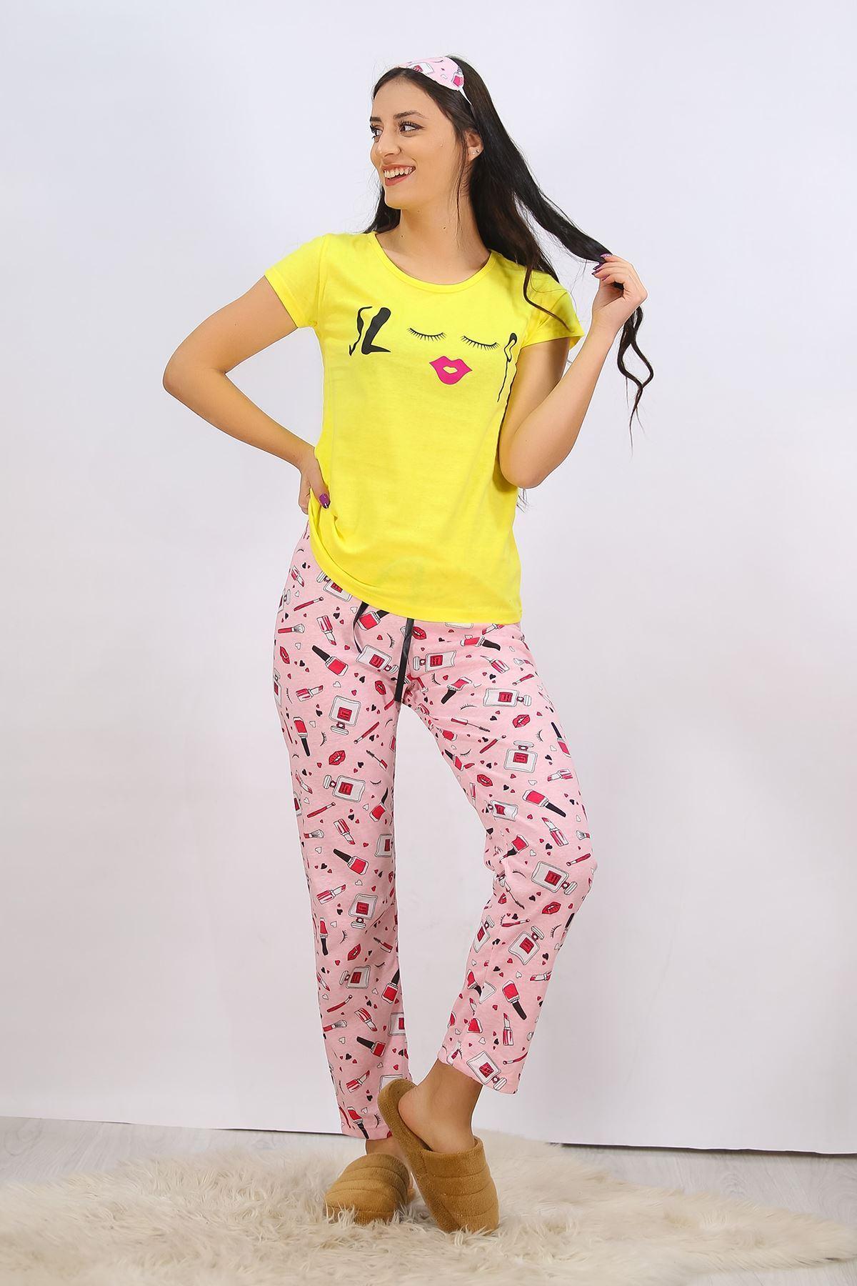 Baskılı Pijama Takımı Sarı - 4707.102.