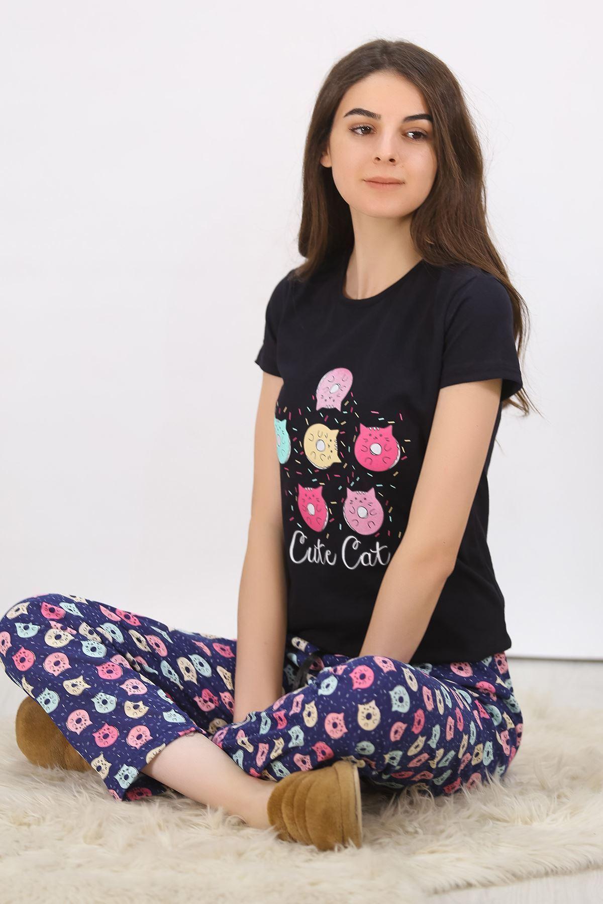 Baskılı Pijama Takımı Siyah - 4701.102.