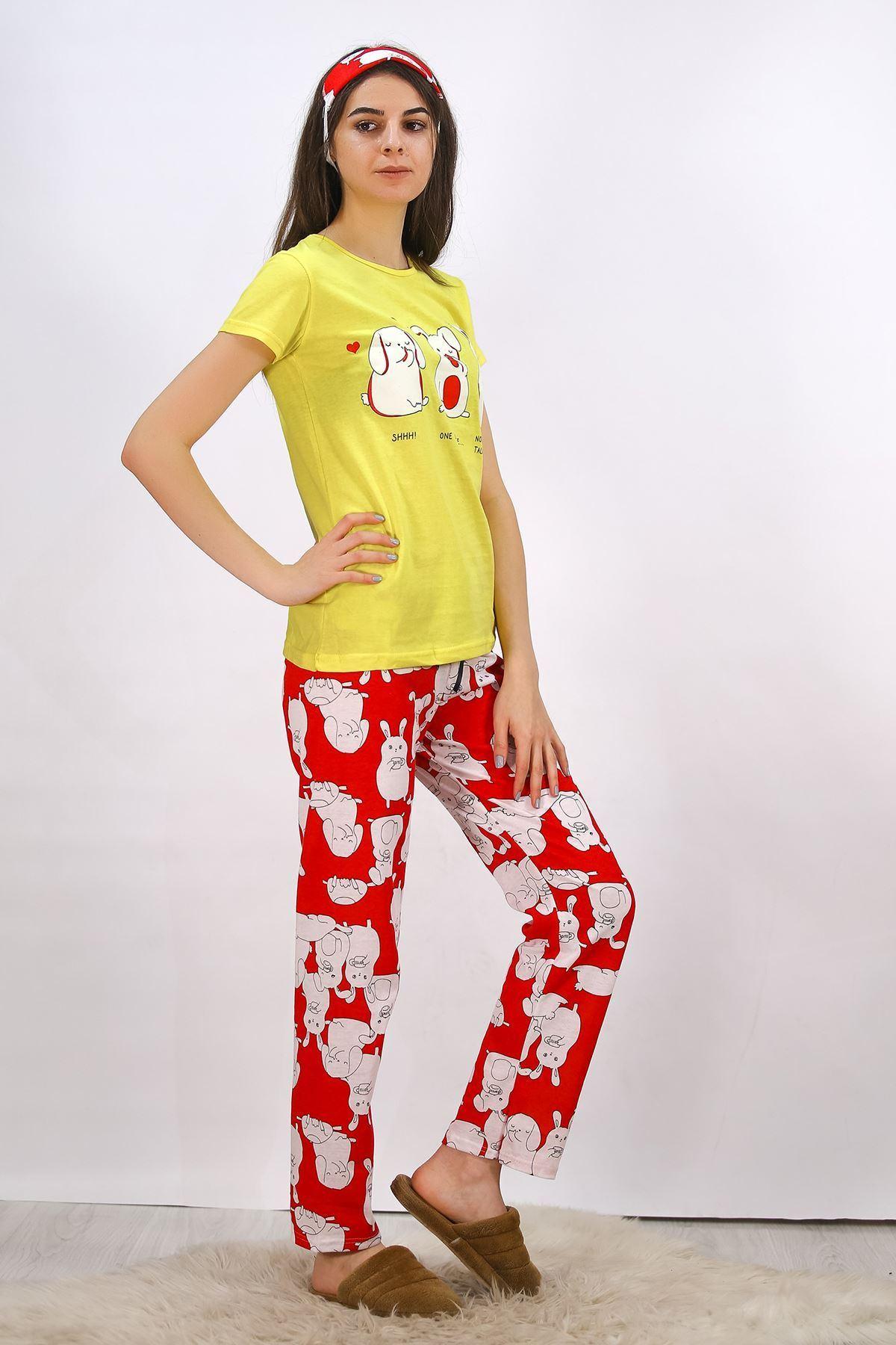 Baskılı Pijama Takımı Sarı - 4699.102.