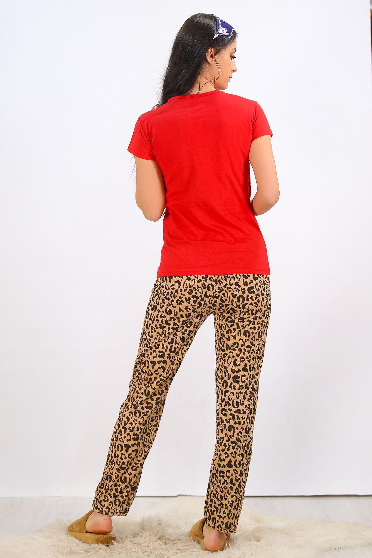 Baskılı Pijama Takımı Kırmızı - 4710.102.