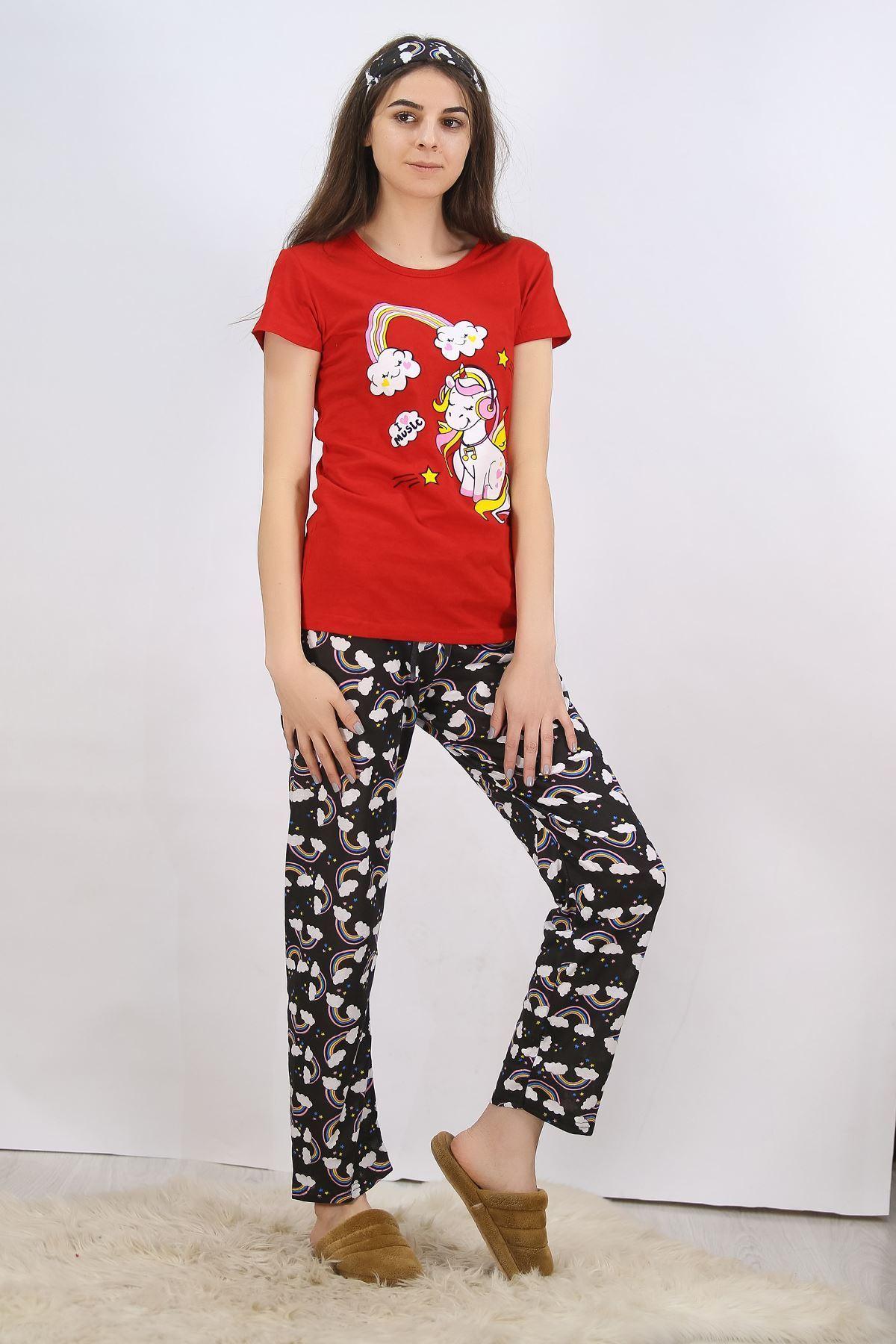 Baskılı Pijama Takımı Kırmızı - 4704.102.