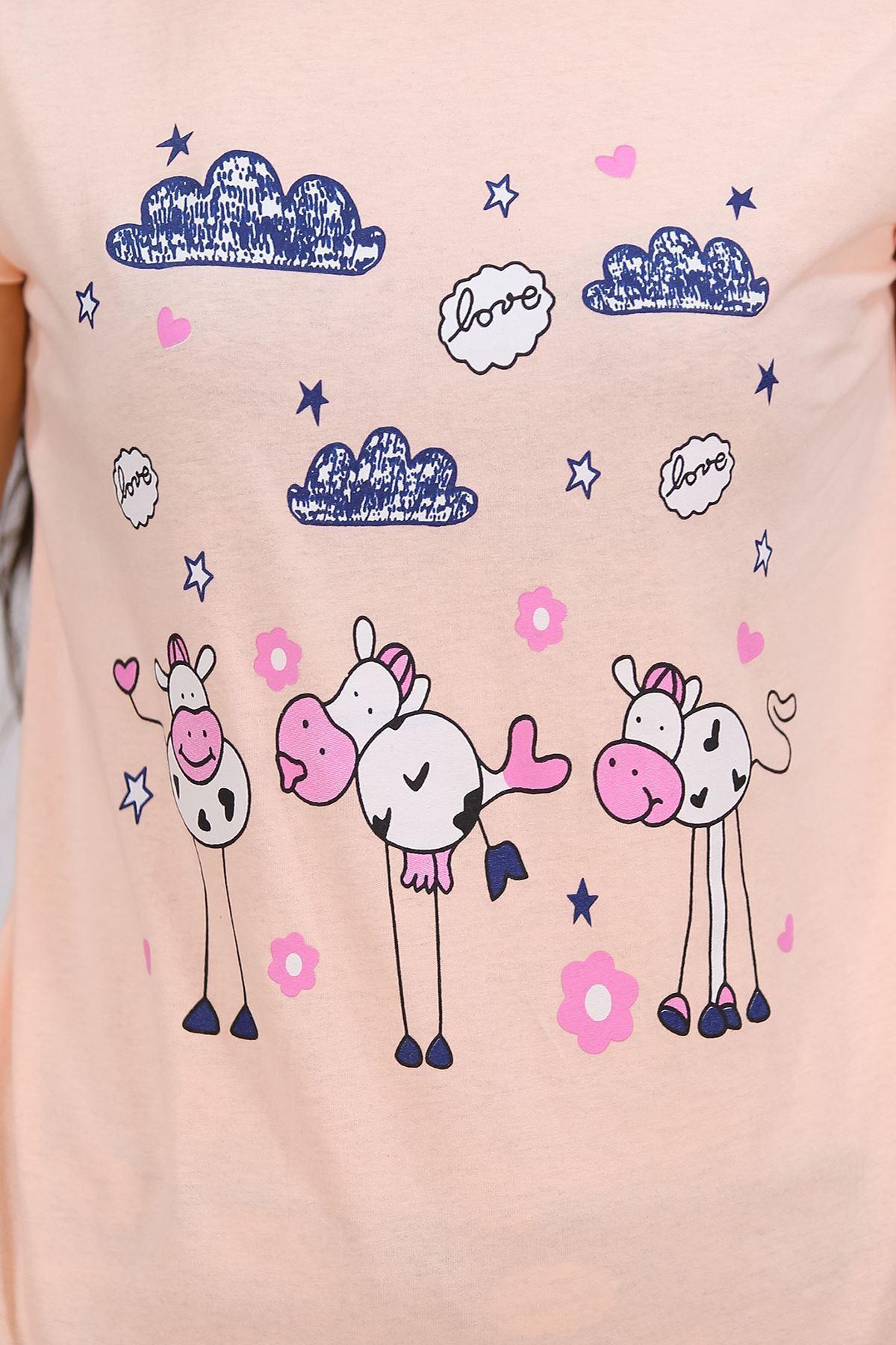 Baskılı Pijama Takımı Somon - 4698.102.
