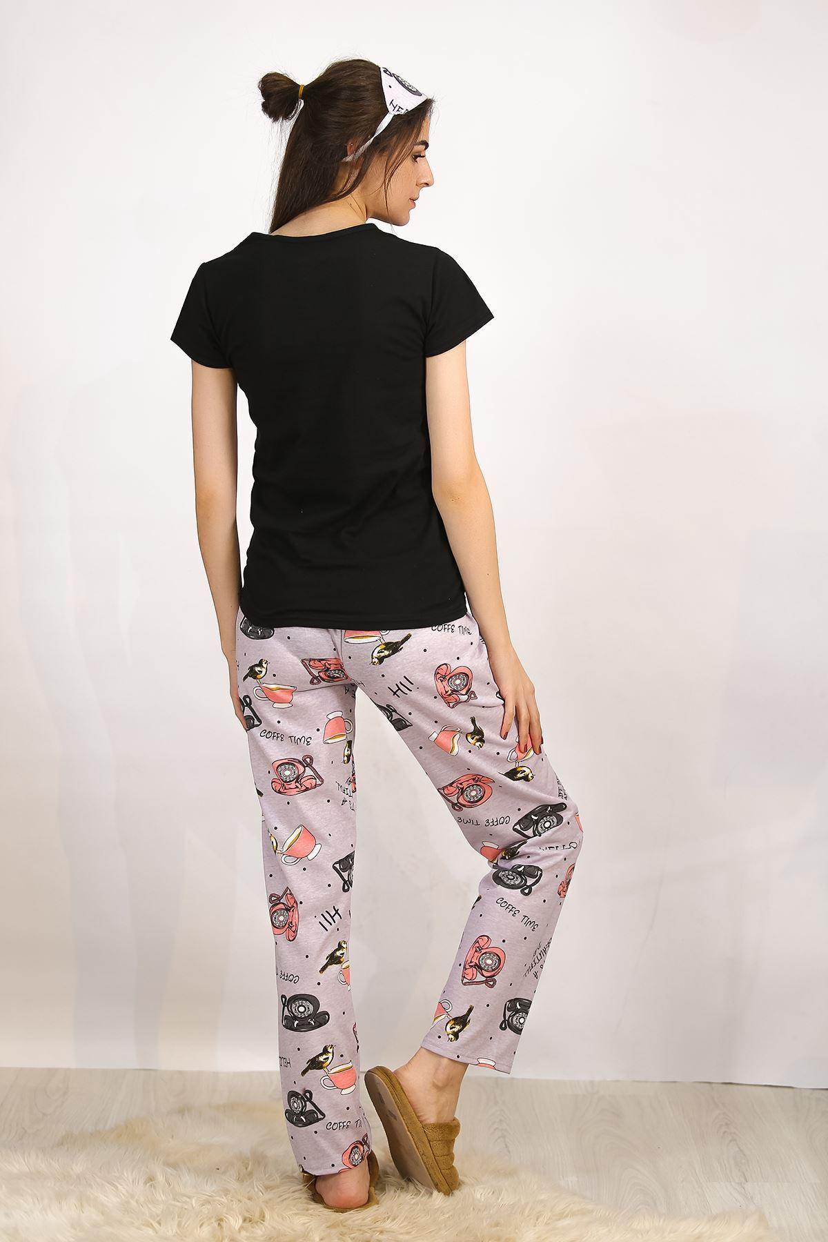 Baskılı Pijama Takımı Siyah - 4697.102.