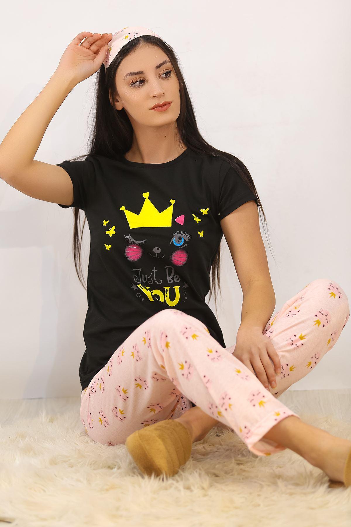 Baskılı Pijama Takımı Siyah - 4708.102.