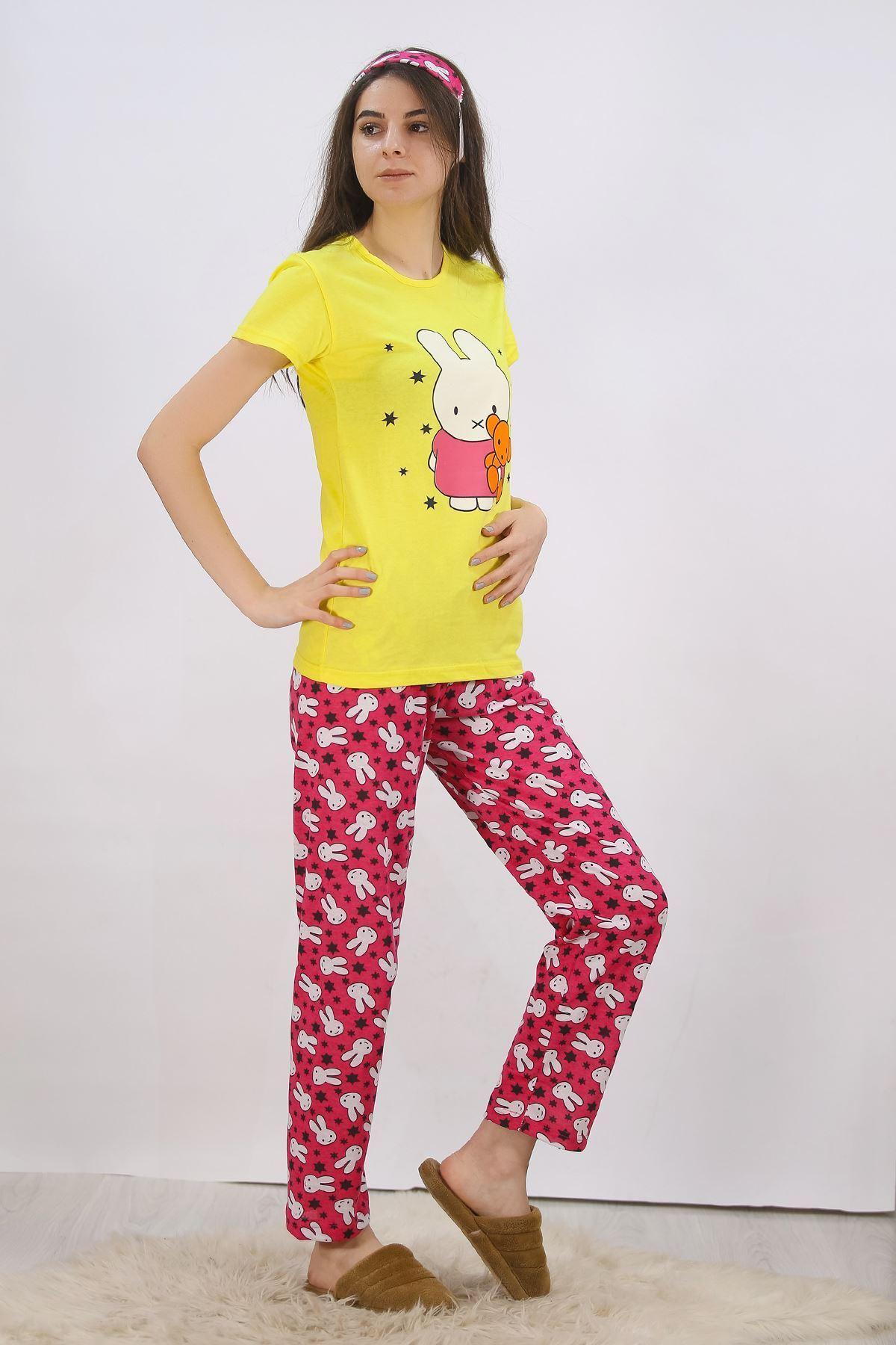 Baskılı Pijama Takımı Sarı - 4711.102.