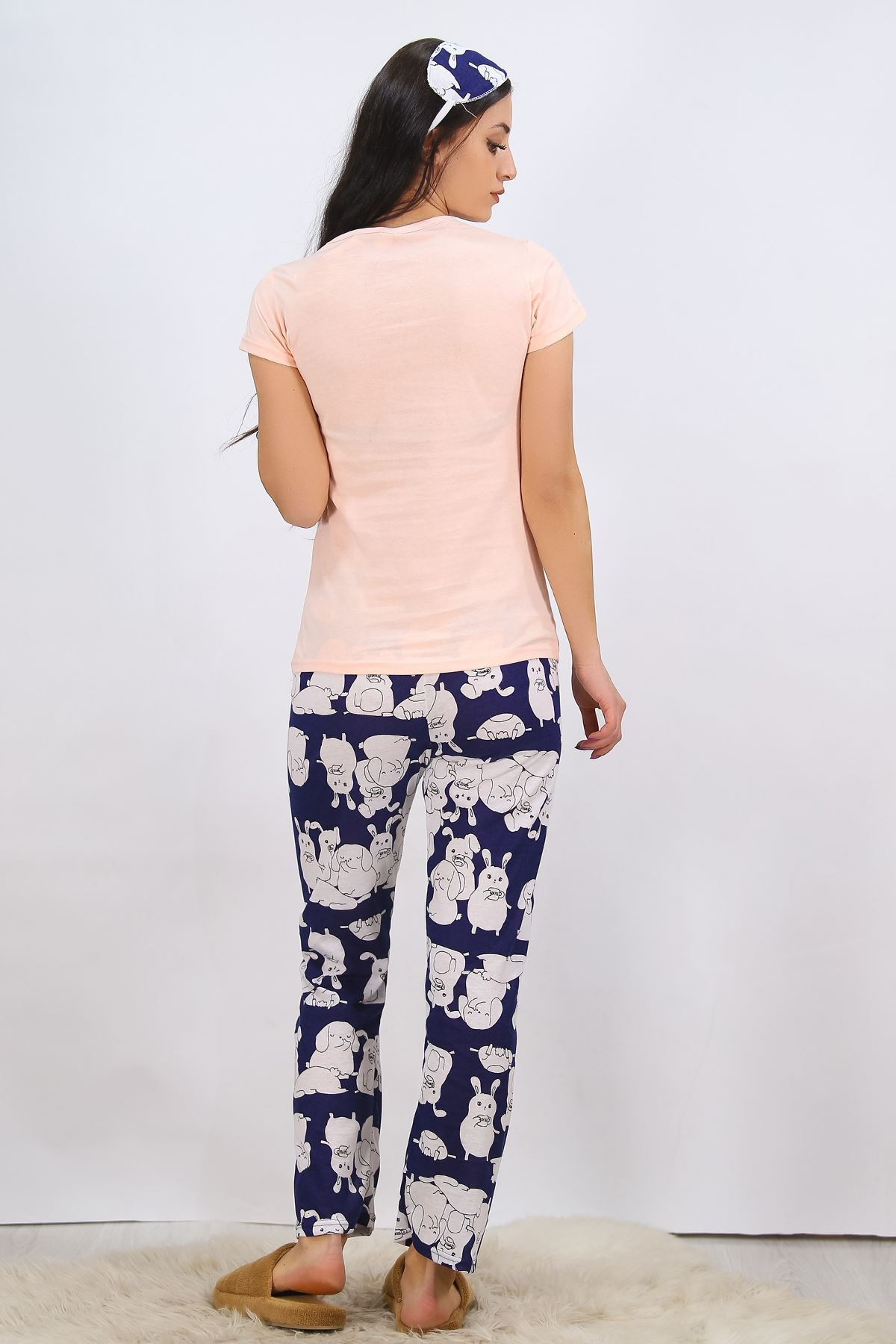 Baskılı Pijama Takımı Somon - 4702.102.