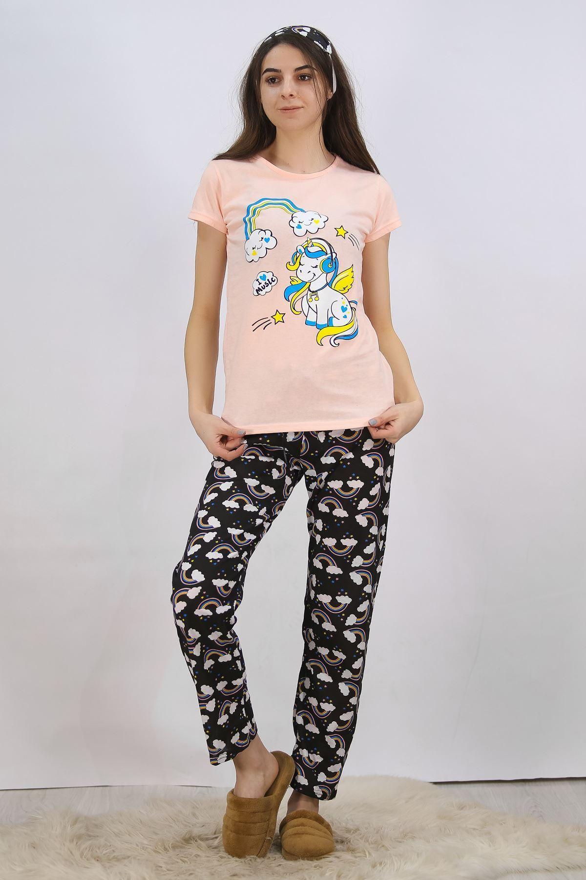 Baskılı Pijama Takımı Somon - 4704.102.