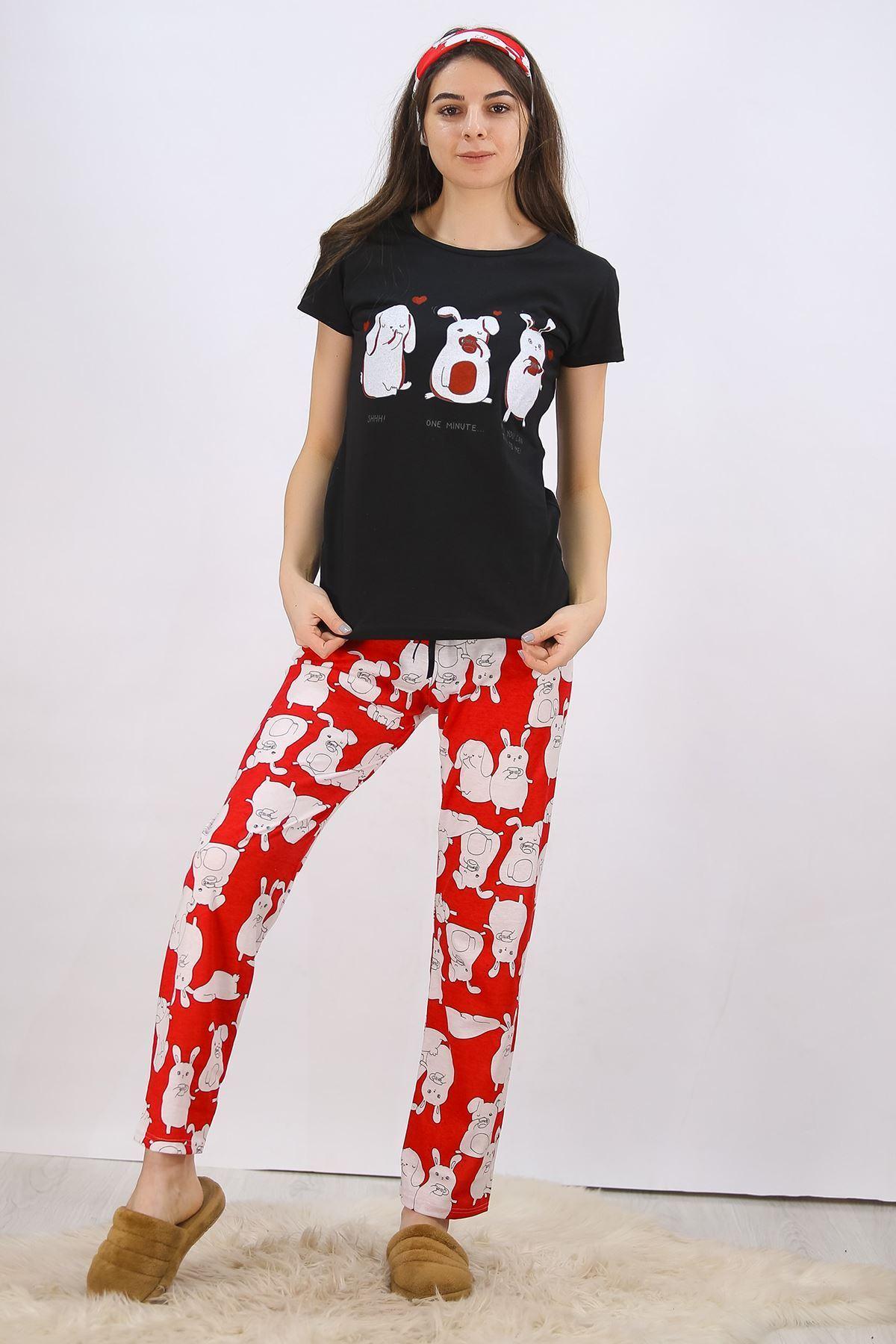 Baskılı Pijama Takımı Siyah - 4699.102.
