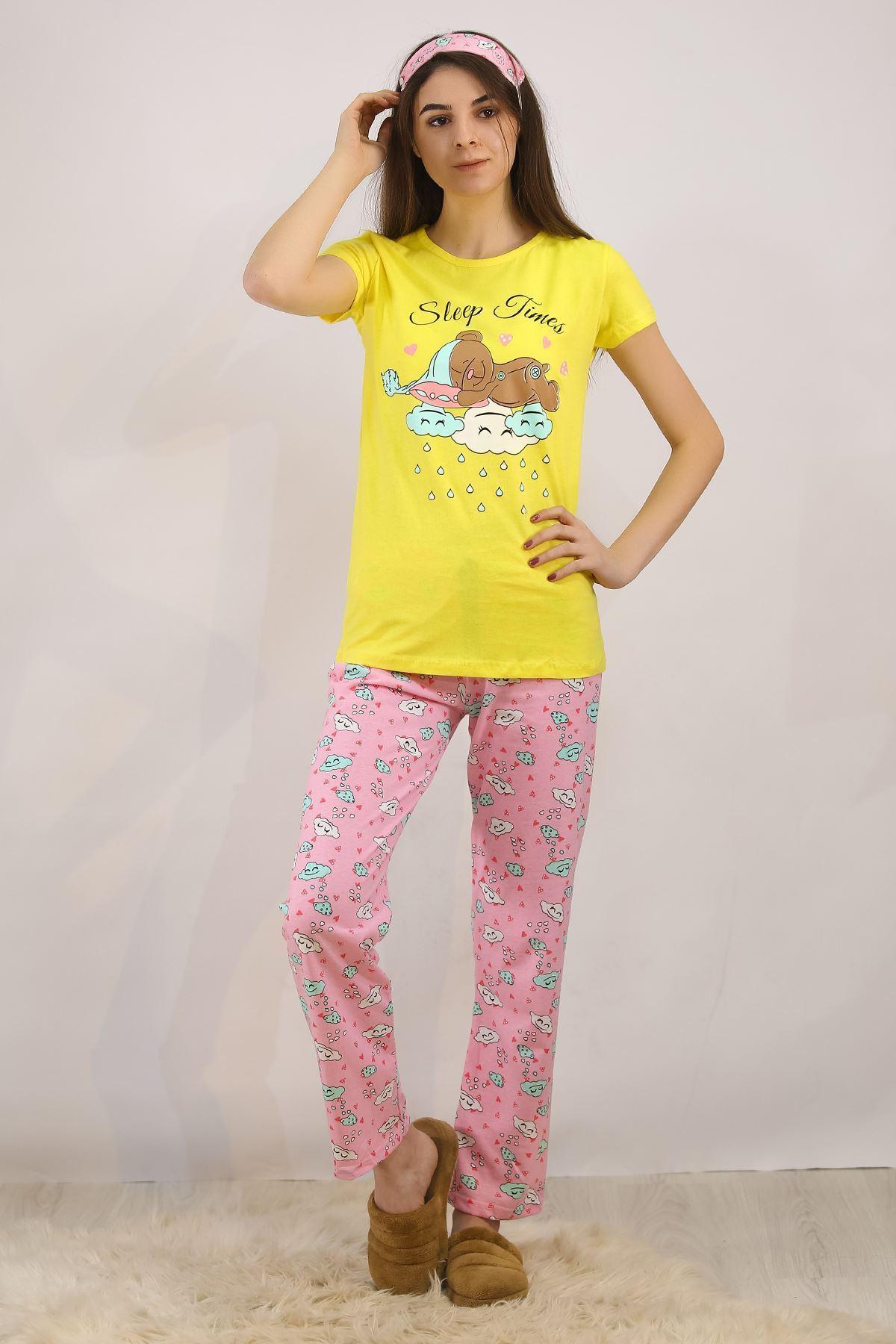 Baskılı Pijama Takımı Sarı - 4713.102.