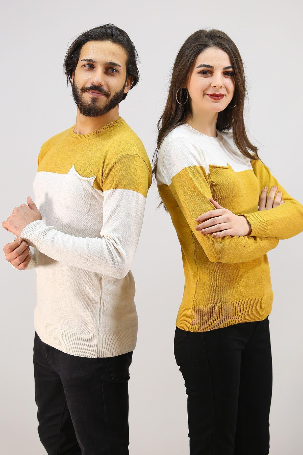 İki Renk Sevgili Kombini Ekruhardal - 4763.1319.