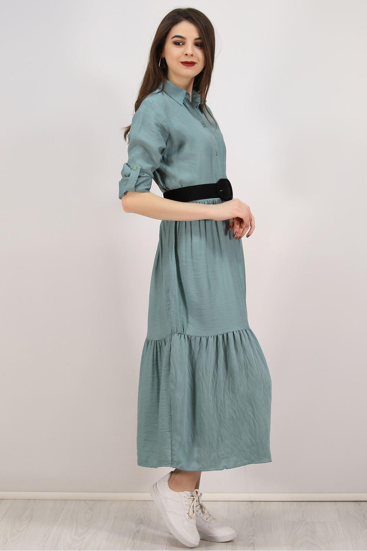 Katlama Kol Elbise Mint - 4807.701.