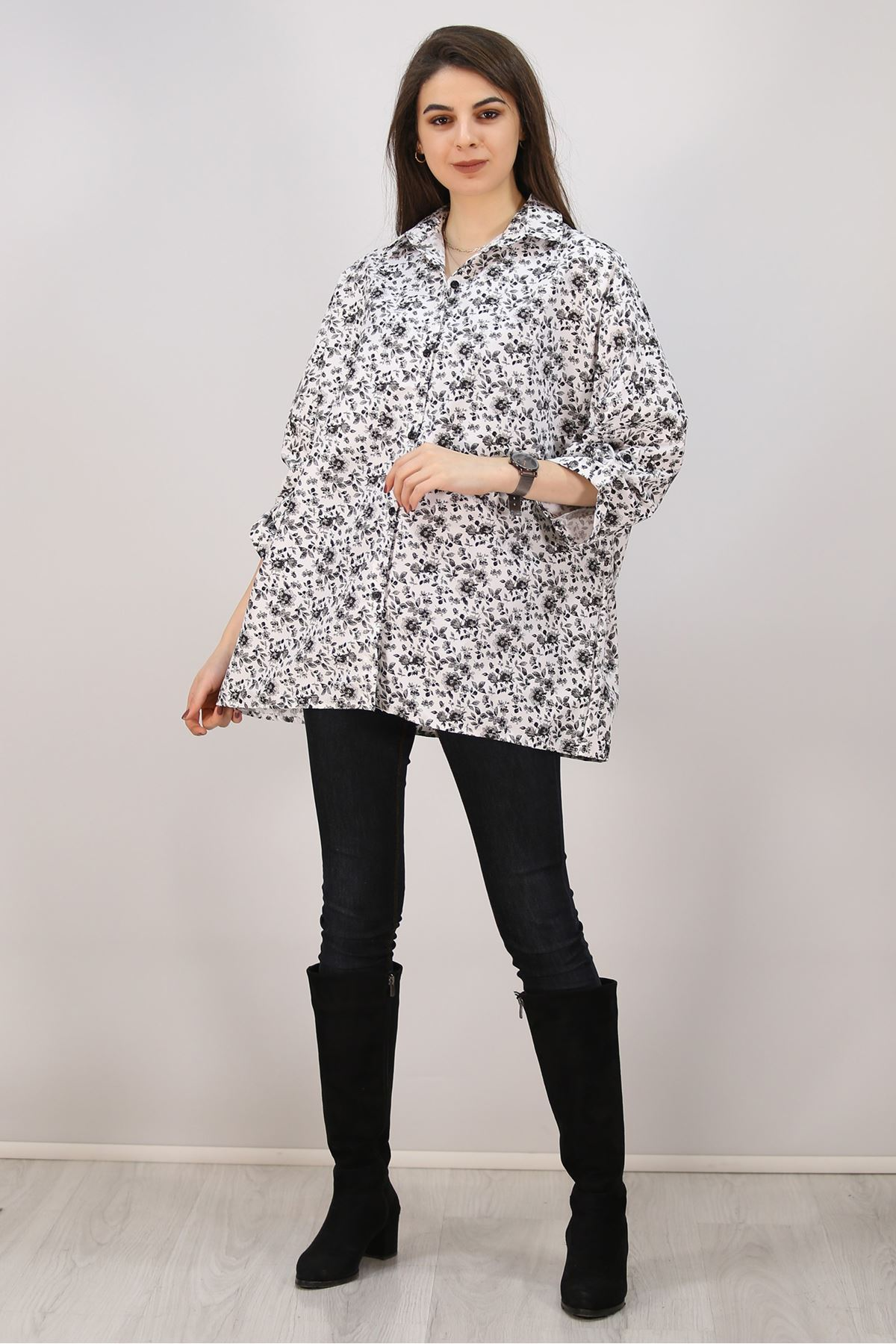 Salaş Gömlek Siyahçiçekli - 4806.701.