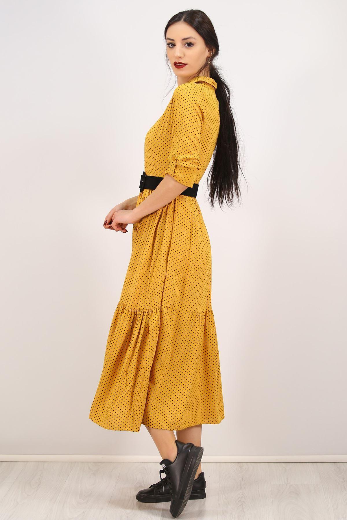 Katlama Kol Elbise Hardal - 4807.701.