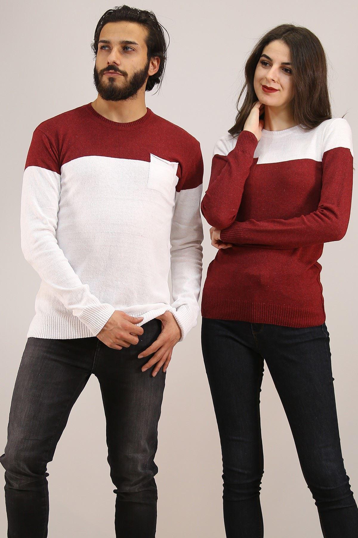 İki Renk Sevgili Kombini Beyazbordo - 4763.1319.