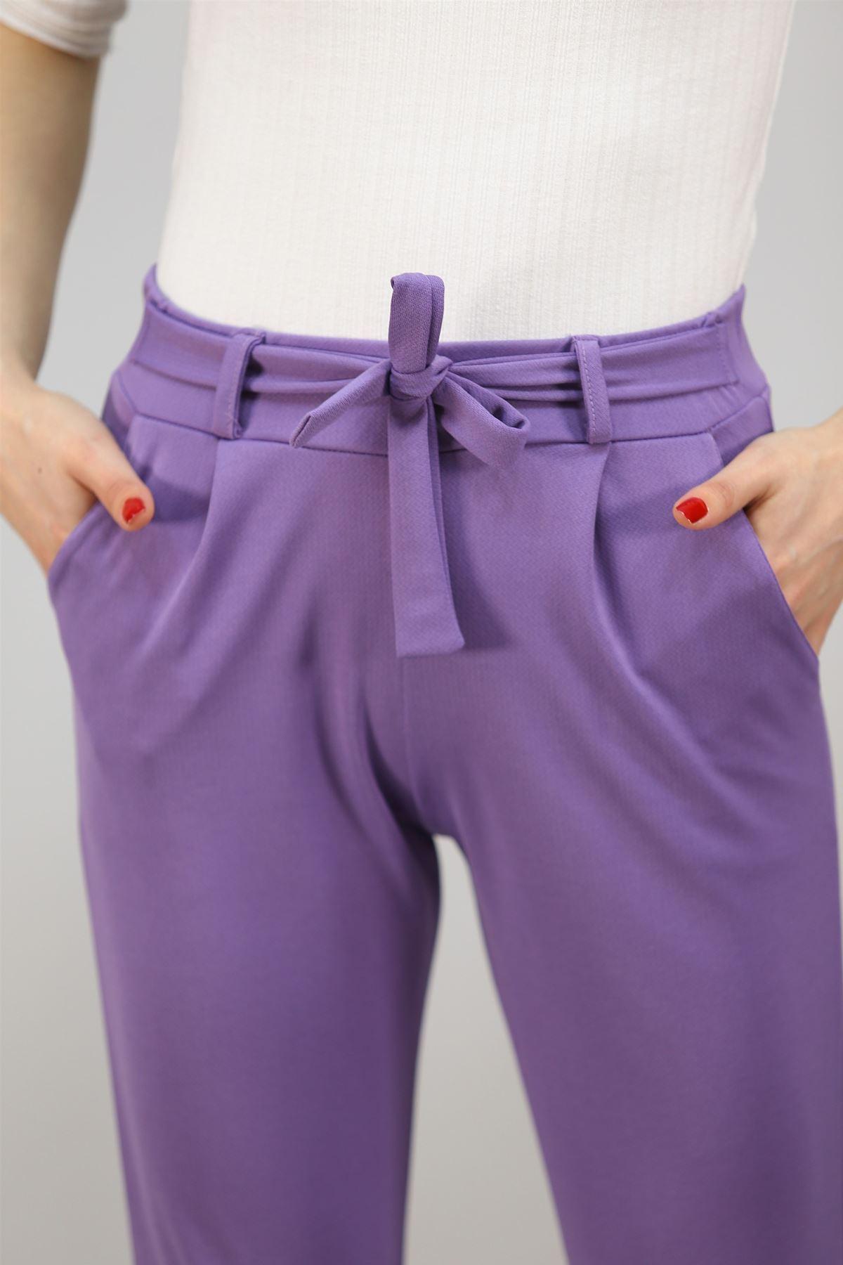 Beli Bağlamalı Pantolon Lila - 2923.150.