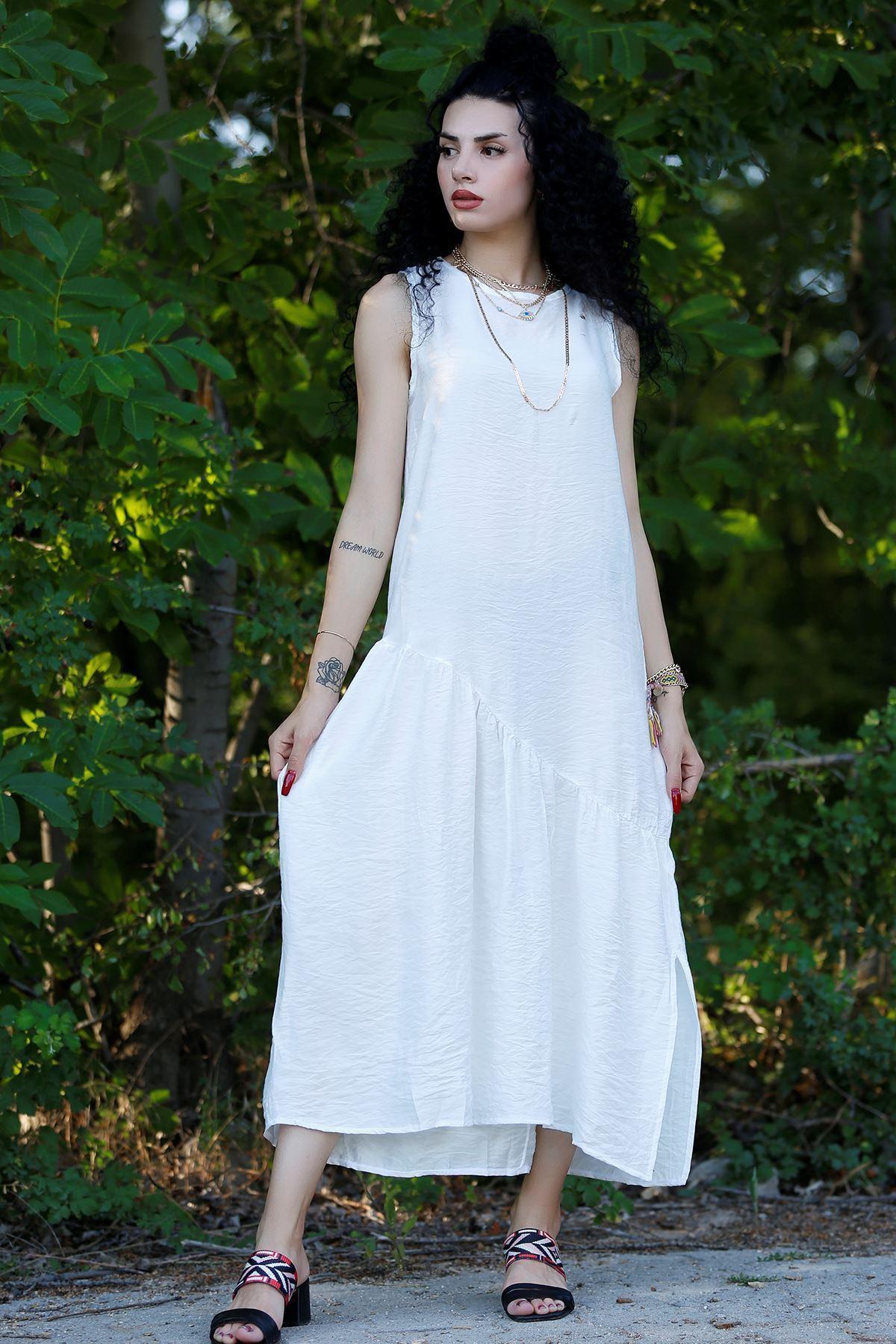 Kolsuz Yırtmaçlı Elbise Beyaz - 20262.1234.