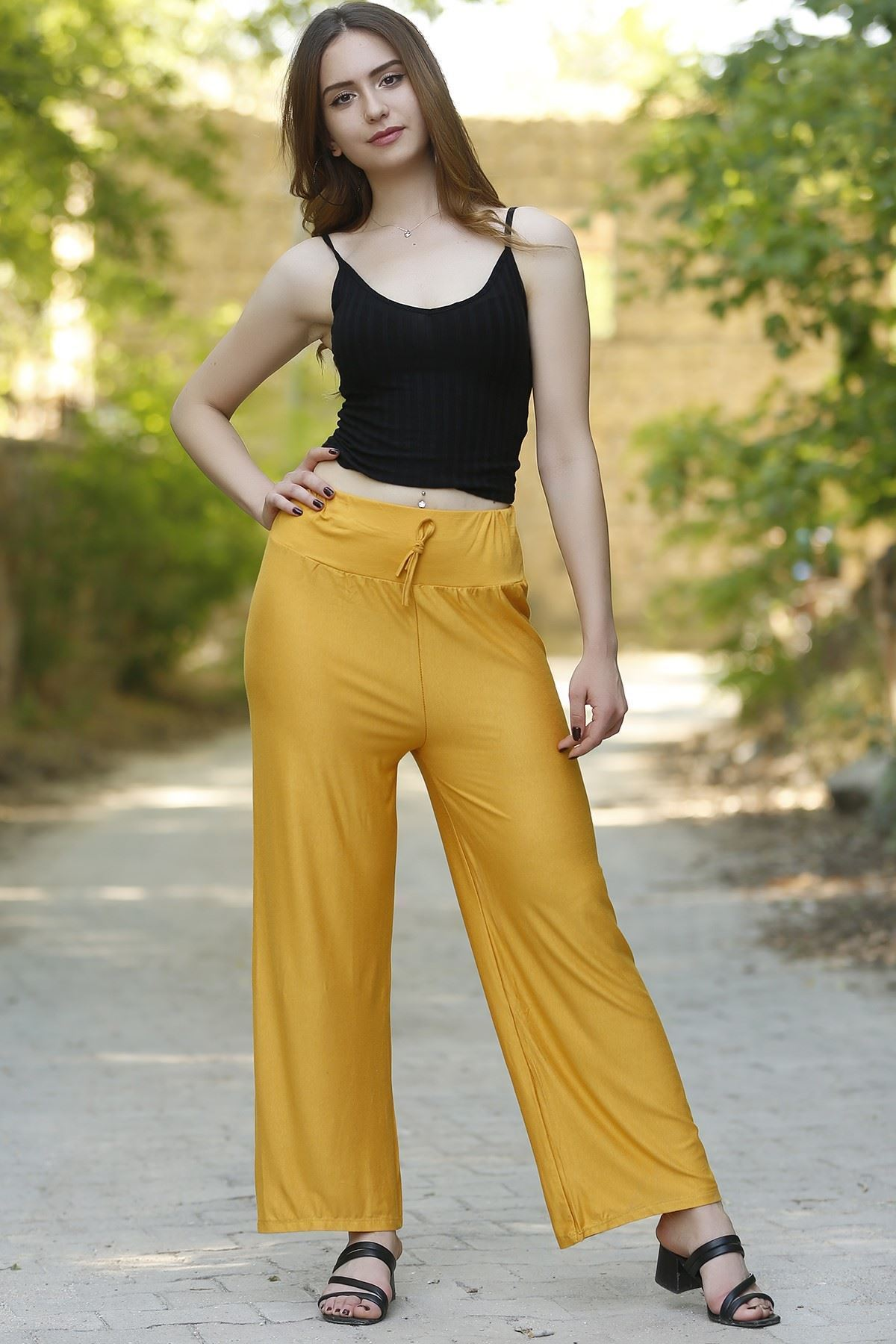 Penye Bol Pantolon Sarı - 4276.716.